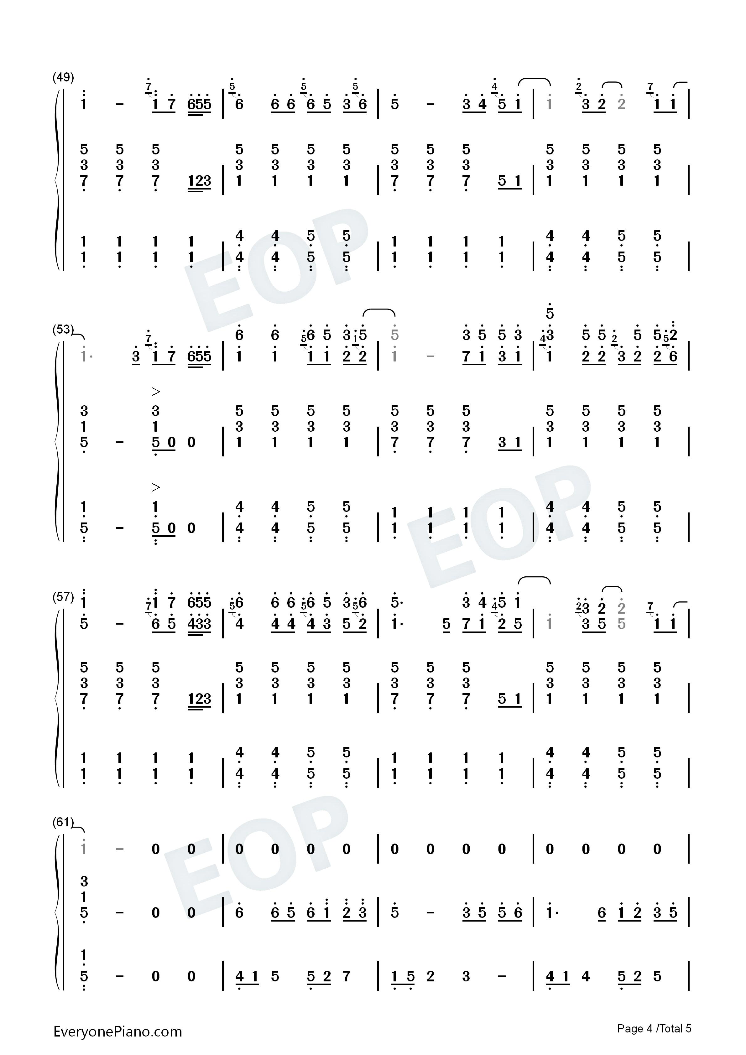 虹之间钢琴简谱