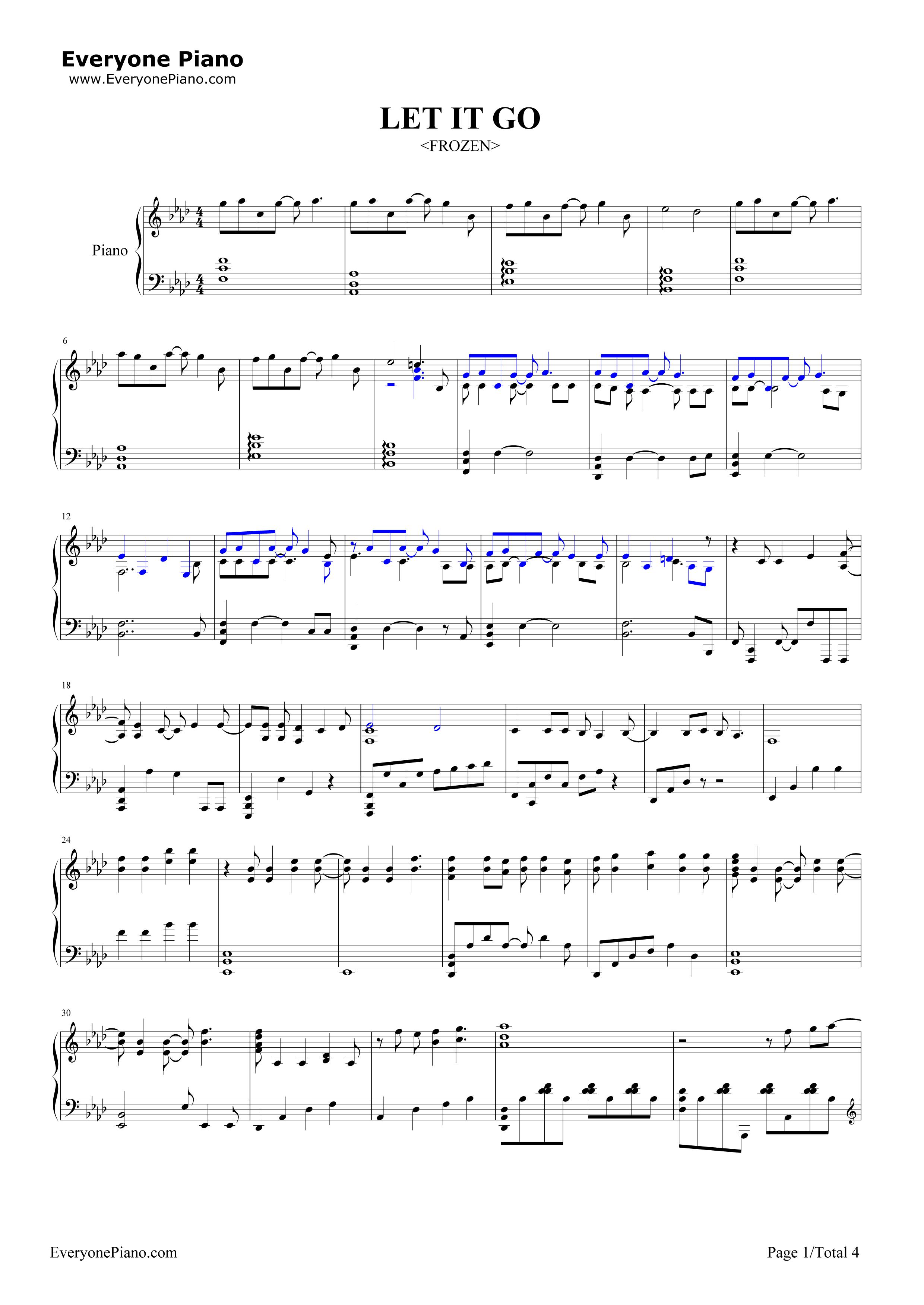 钢琴曲谱 流行 let it go完整版-动画冰雪奇缘主题曲 let it go完整版