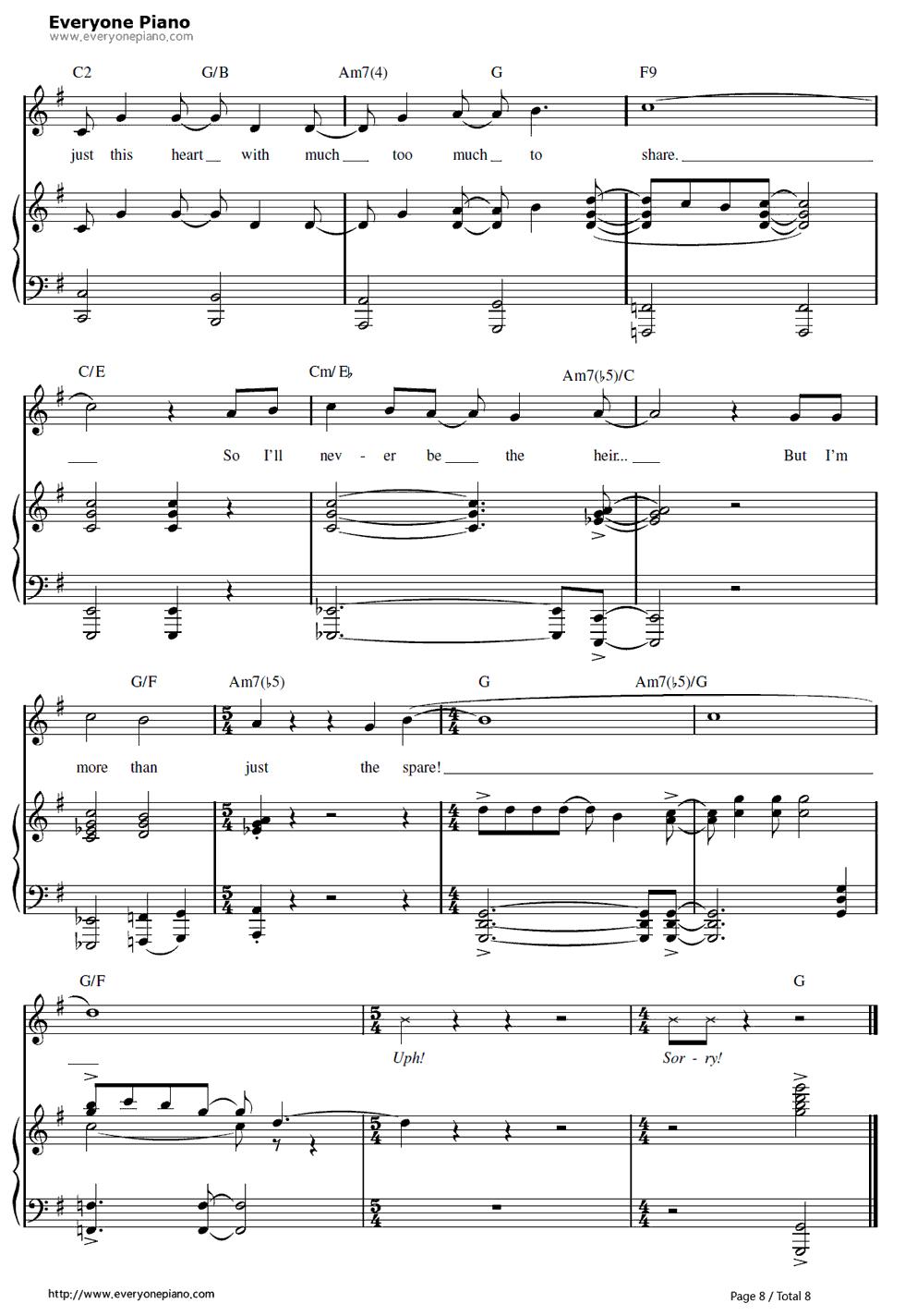 冰雪奇缘钢琴曲钢琴谱