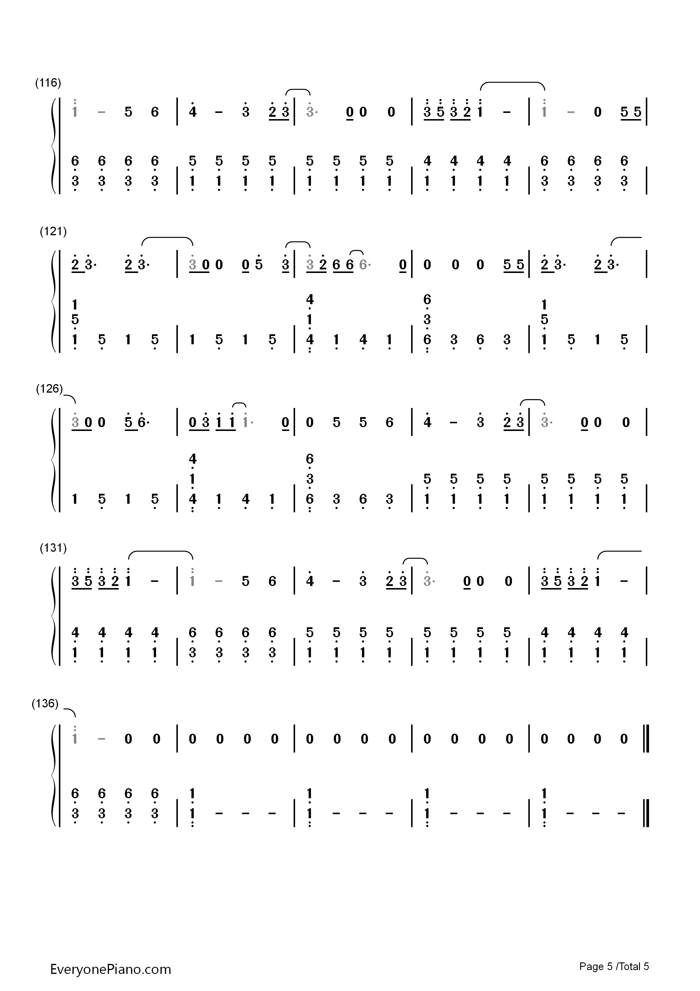 5 钢琴谱档 五线谱 双手简谱 数位谱 Midi PDF 免费下载