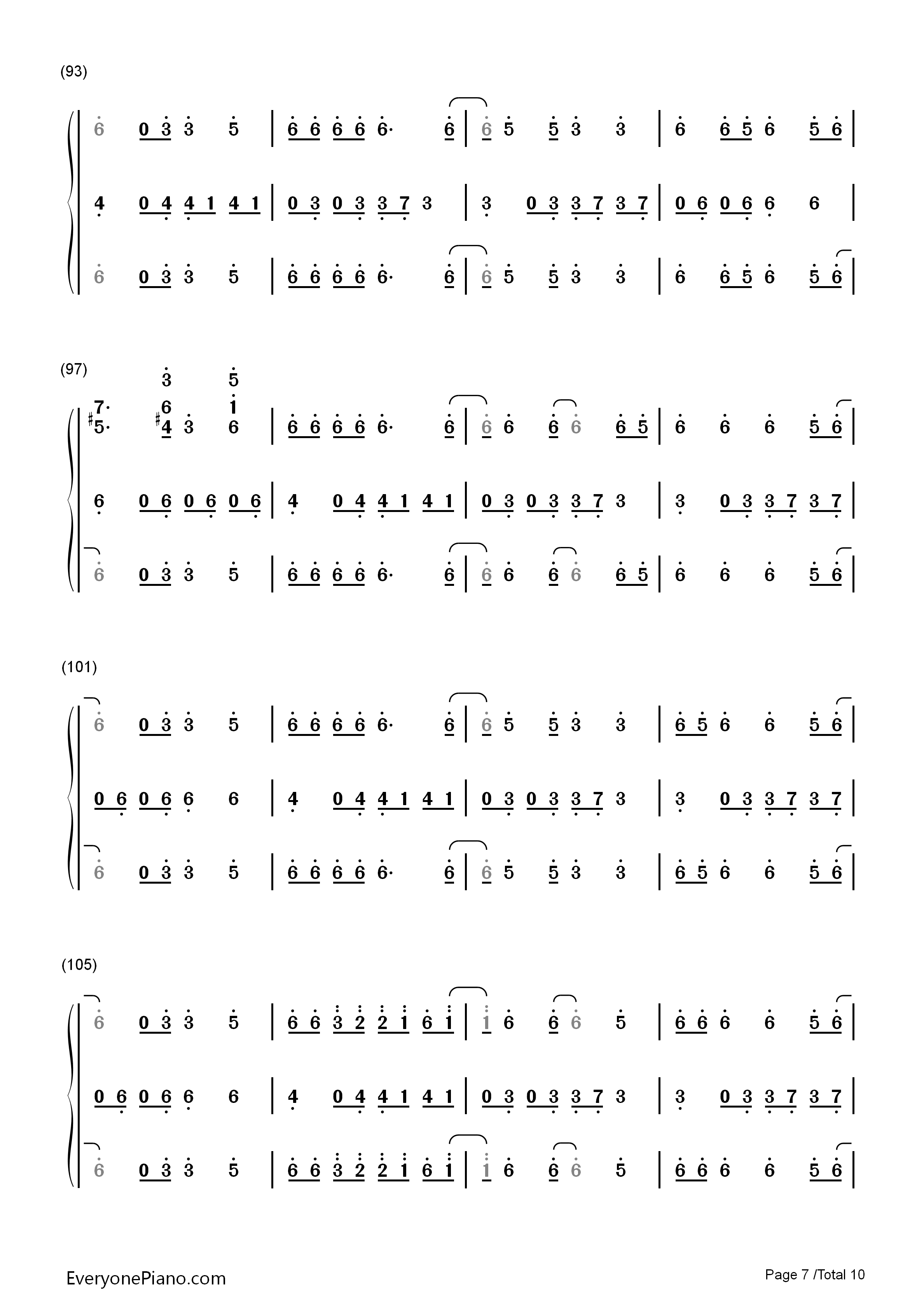 Happy Pharrell Williams双手简谱预览7 钢琴谱档 五线谱 双手简谱 数位