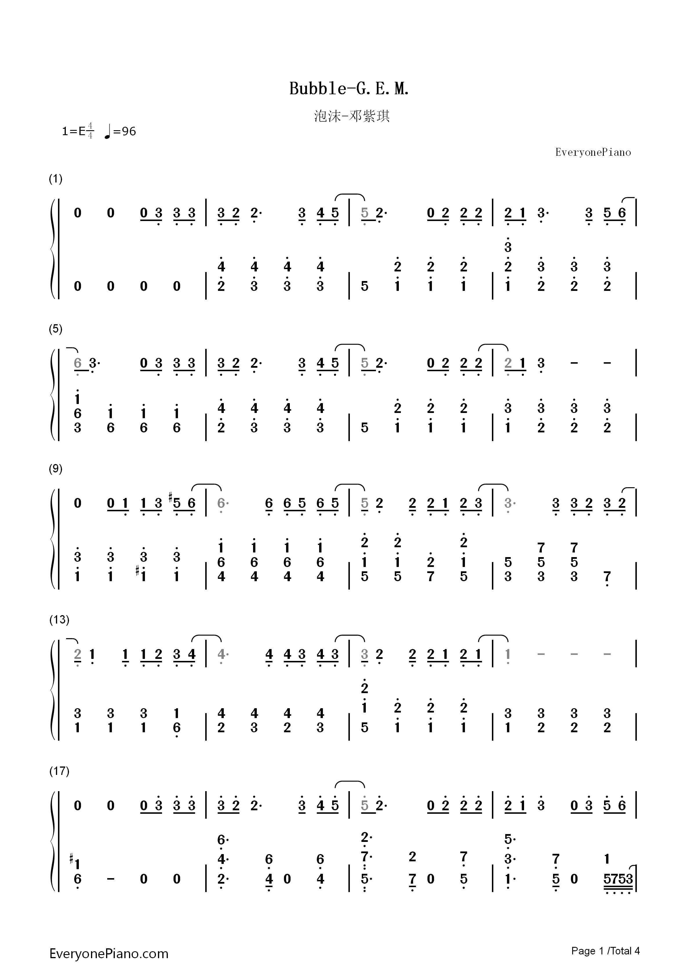 泡沫-邓紫棋双手简谱预览1-钢琴谱(五线谱,双手简谱)