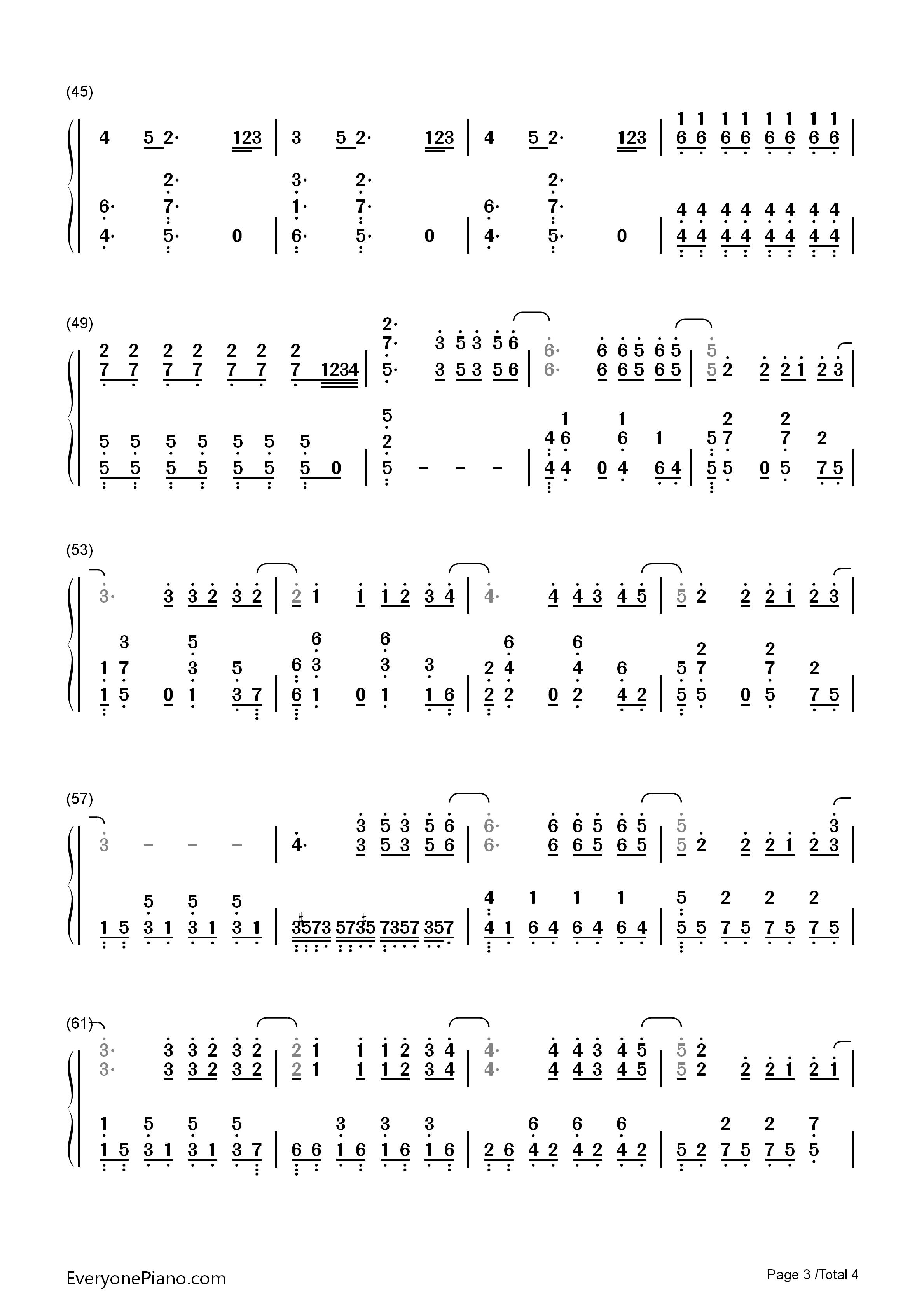 泡沫-邓紫棋双手简谱预览3-钢琴谱(五线谱,双手简谱)