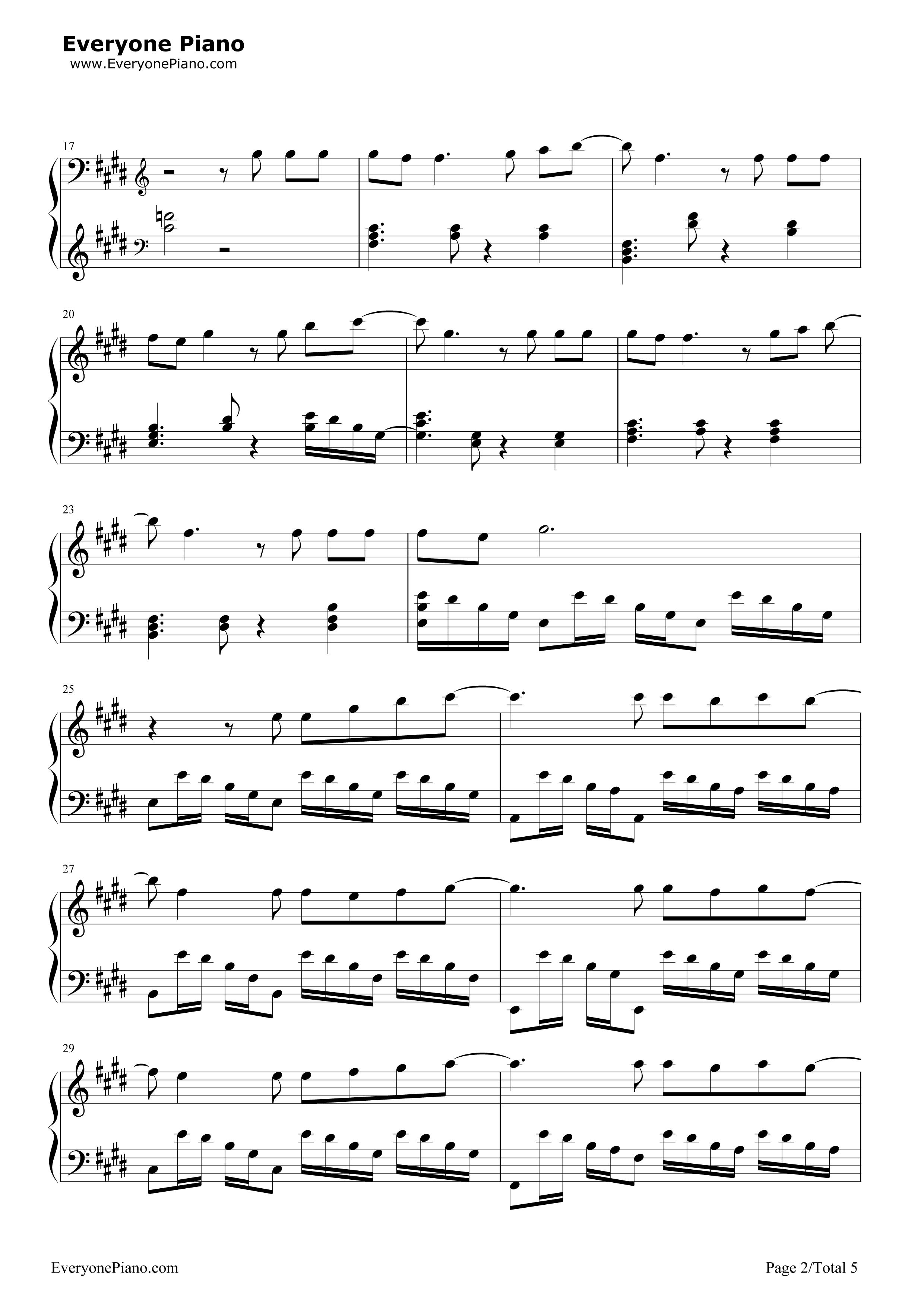 泡沫-邓紫棋五线谱预览2-钢琴谱(五线谱,双手简谱)