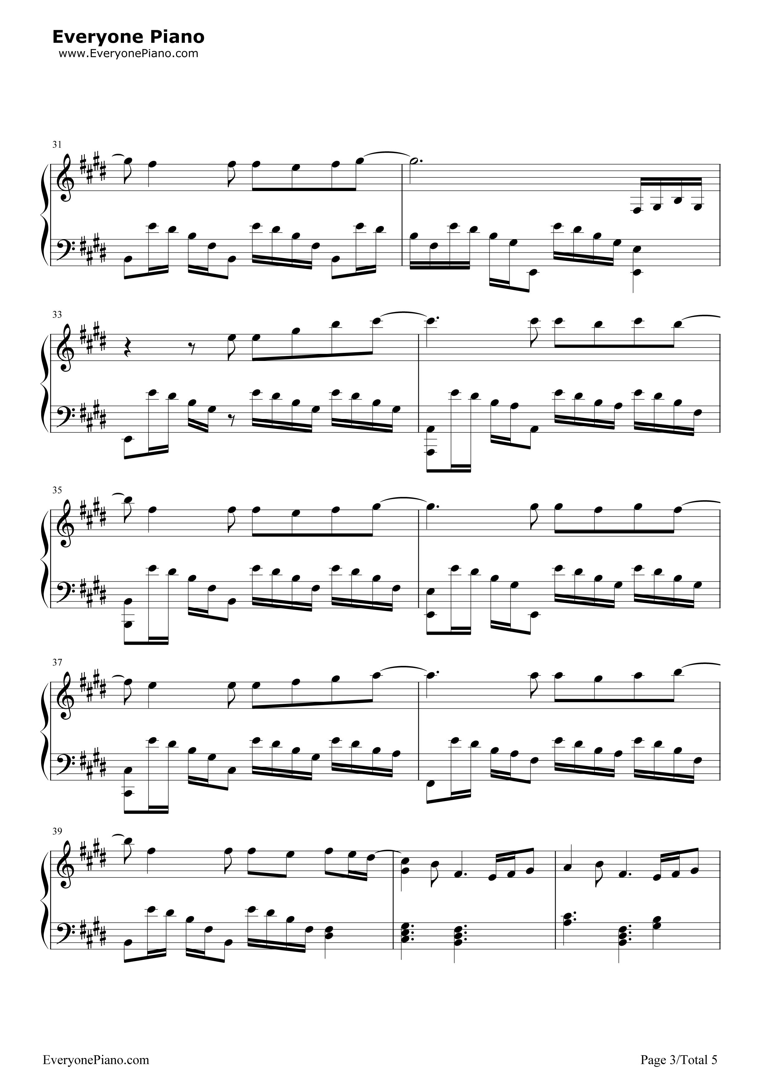 泡沫-邓紫棋五线谱预览3-钢琴谱(五线谱,双手简谱)