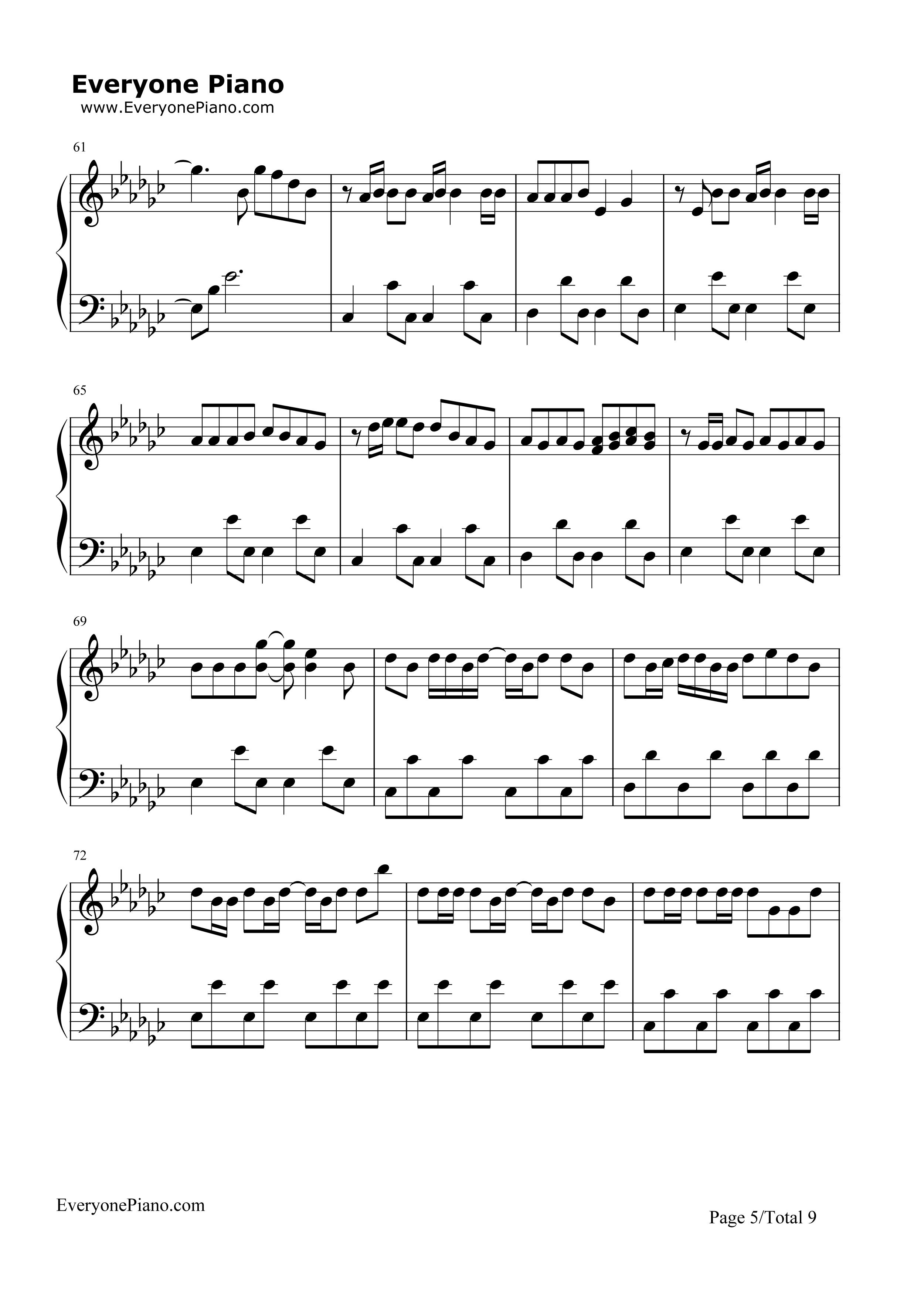 楚剧双玉蝉曲谱-五线谱 haru 钢琴谱