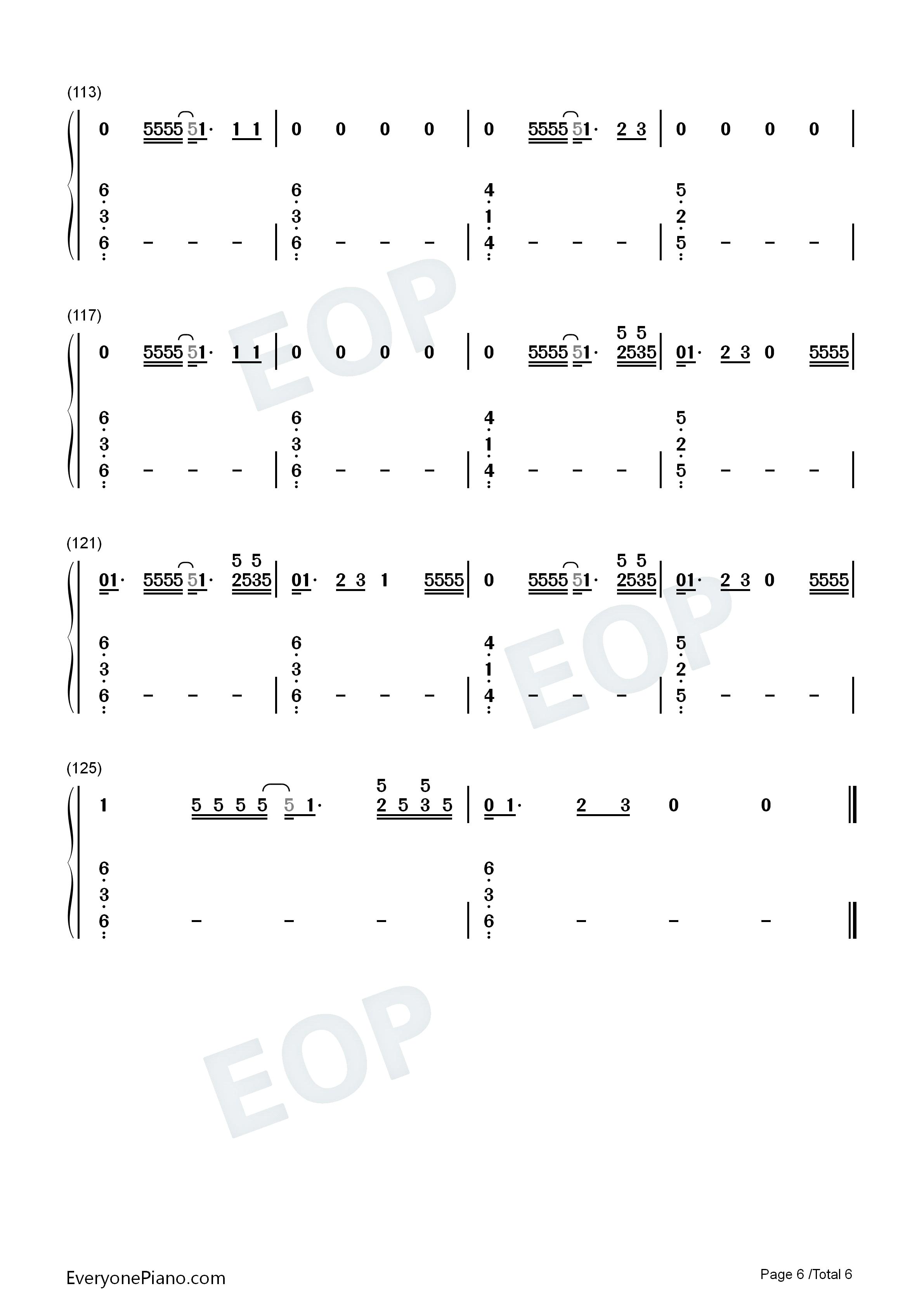 亲口口拉手手钢琴曲谱-手简谱预览6 钢琴谱档 五线谱 双手简谱 数位谱 Midi PDF 免费下载