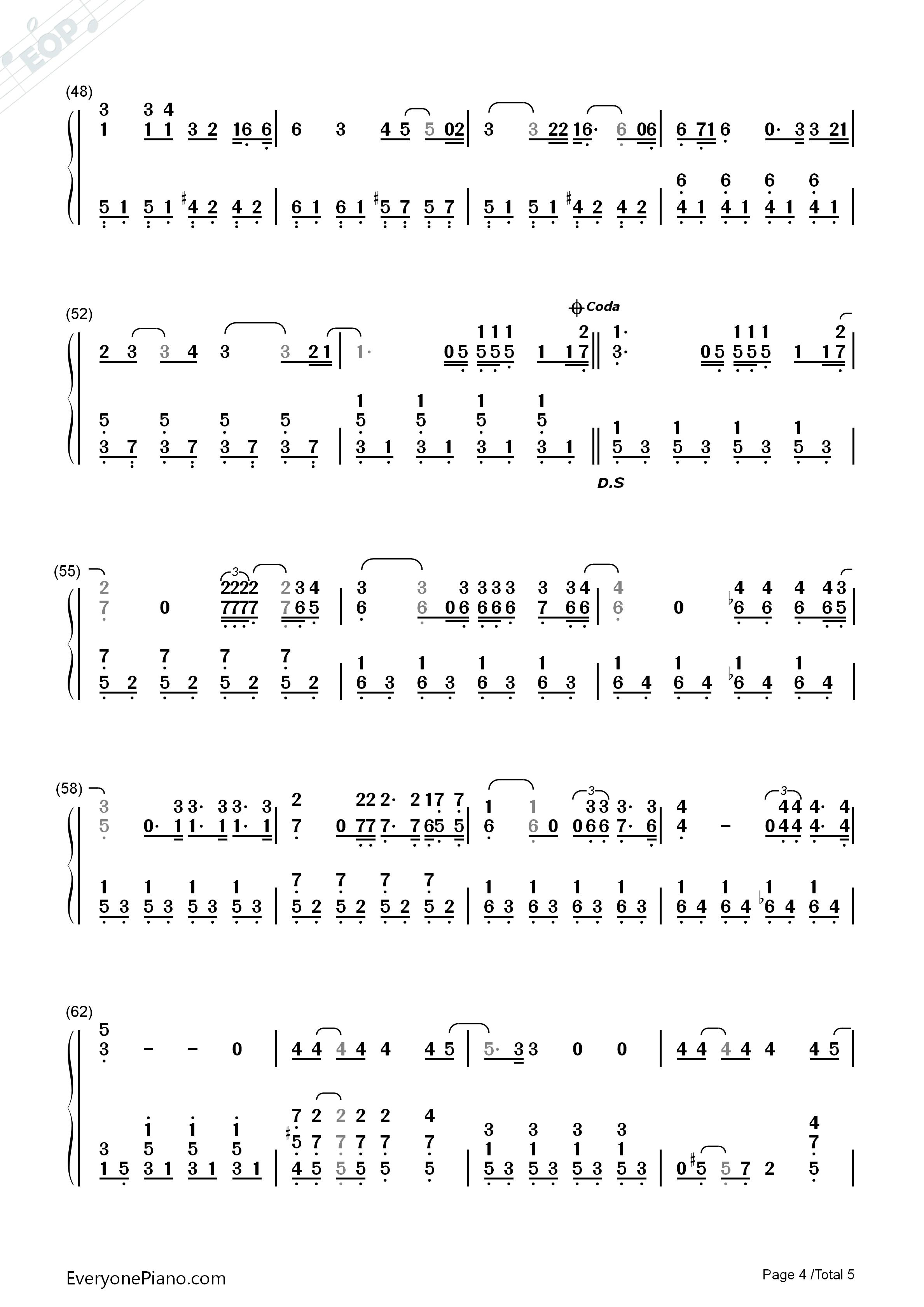 Perri双手简谱预览4 钢琴谱档 五线谱 双手简谱 数位谱 Midi PDF 免费