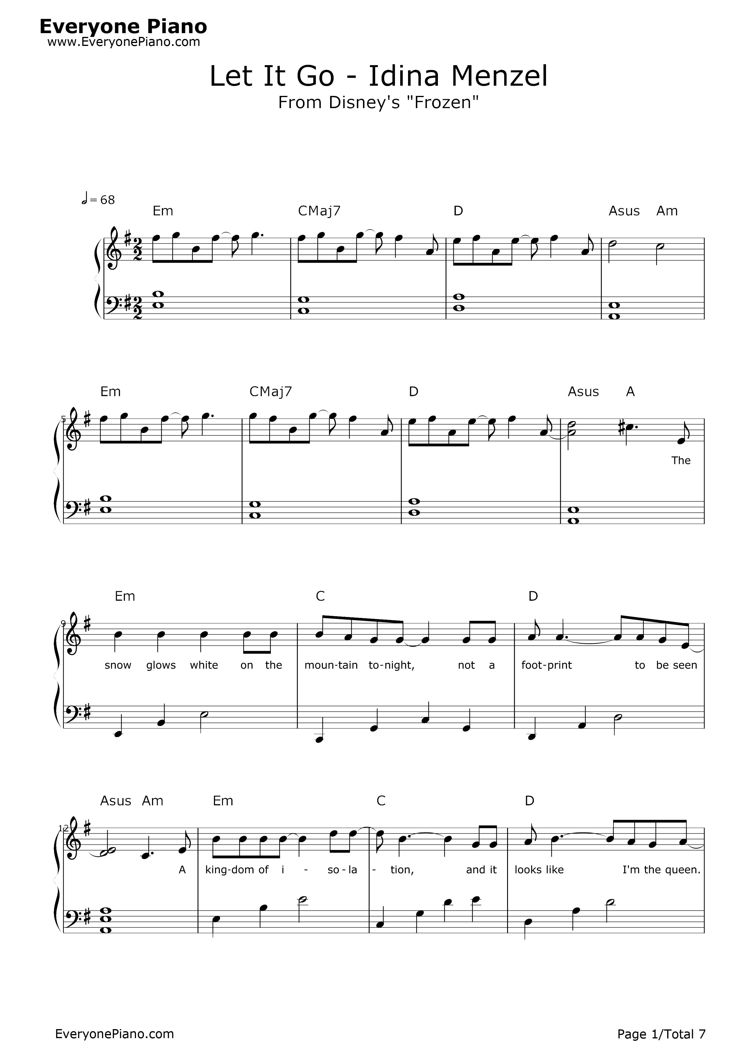 let it go简单版-冰雪奇缘主题曲五线谱预览1-钢琴谱