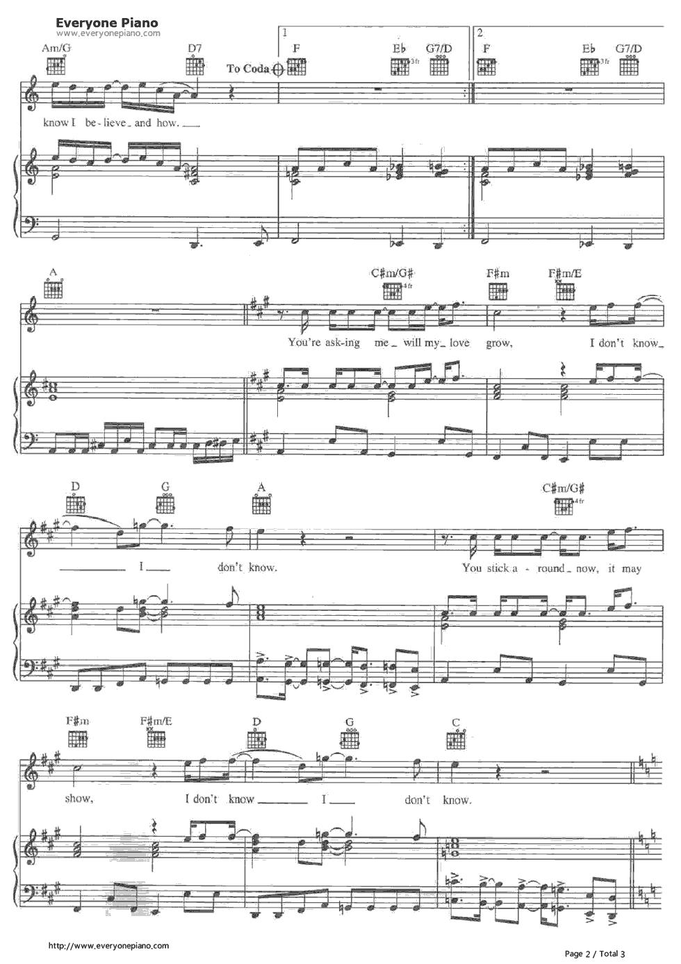 钢琴曲谱 流行 something-the beatles something-the beatles五线谱