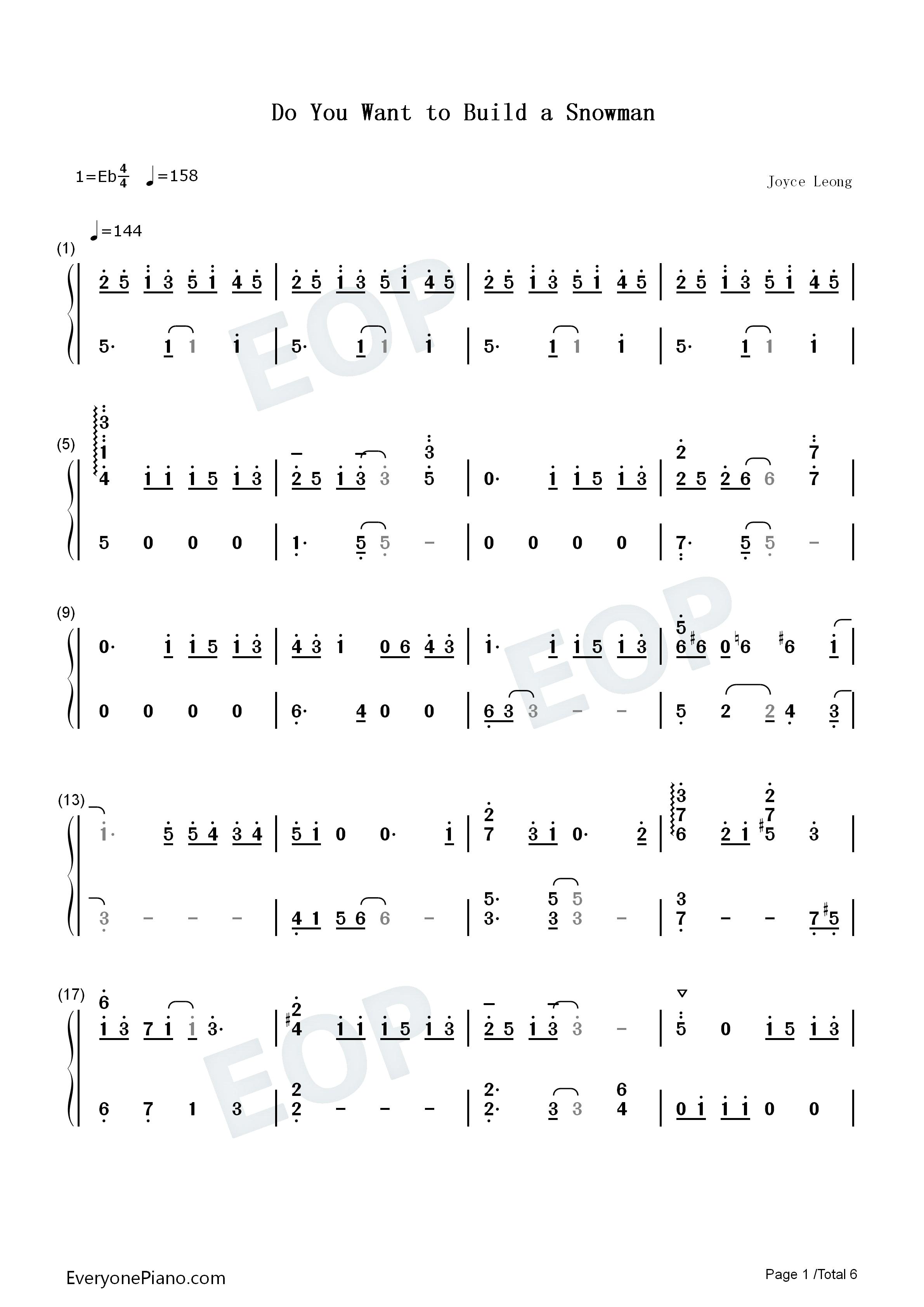 man钢琴版 冰雪奇缘插曲双手简谱预览1