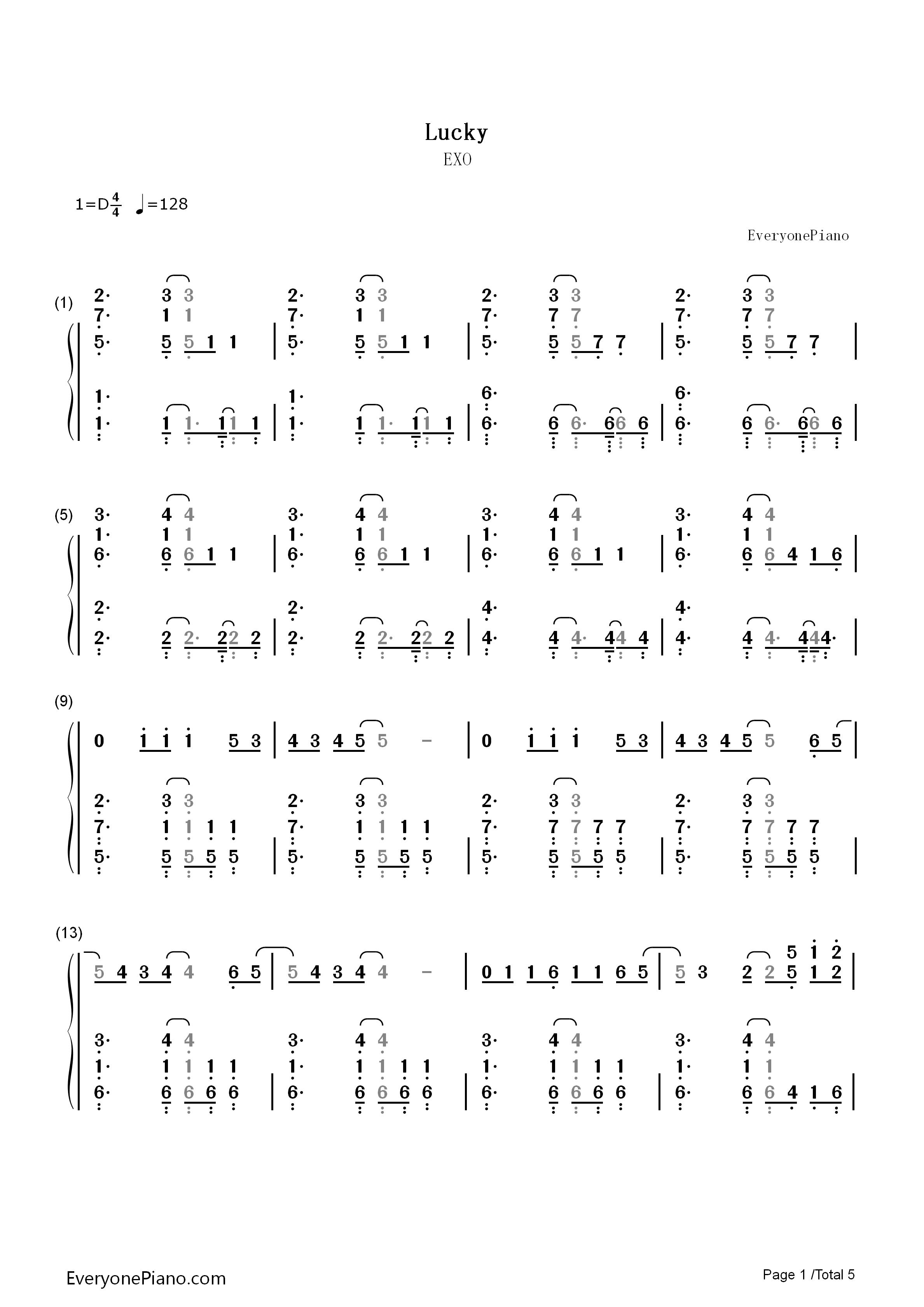钢琴谱双手简谱 c调