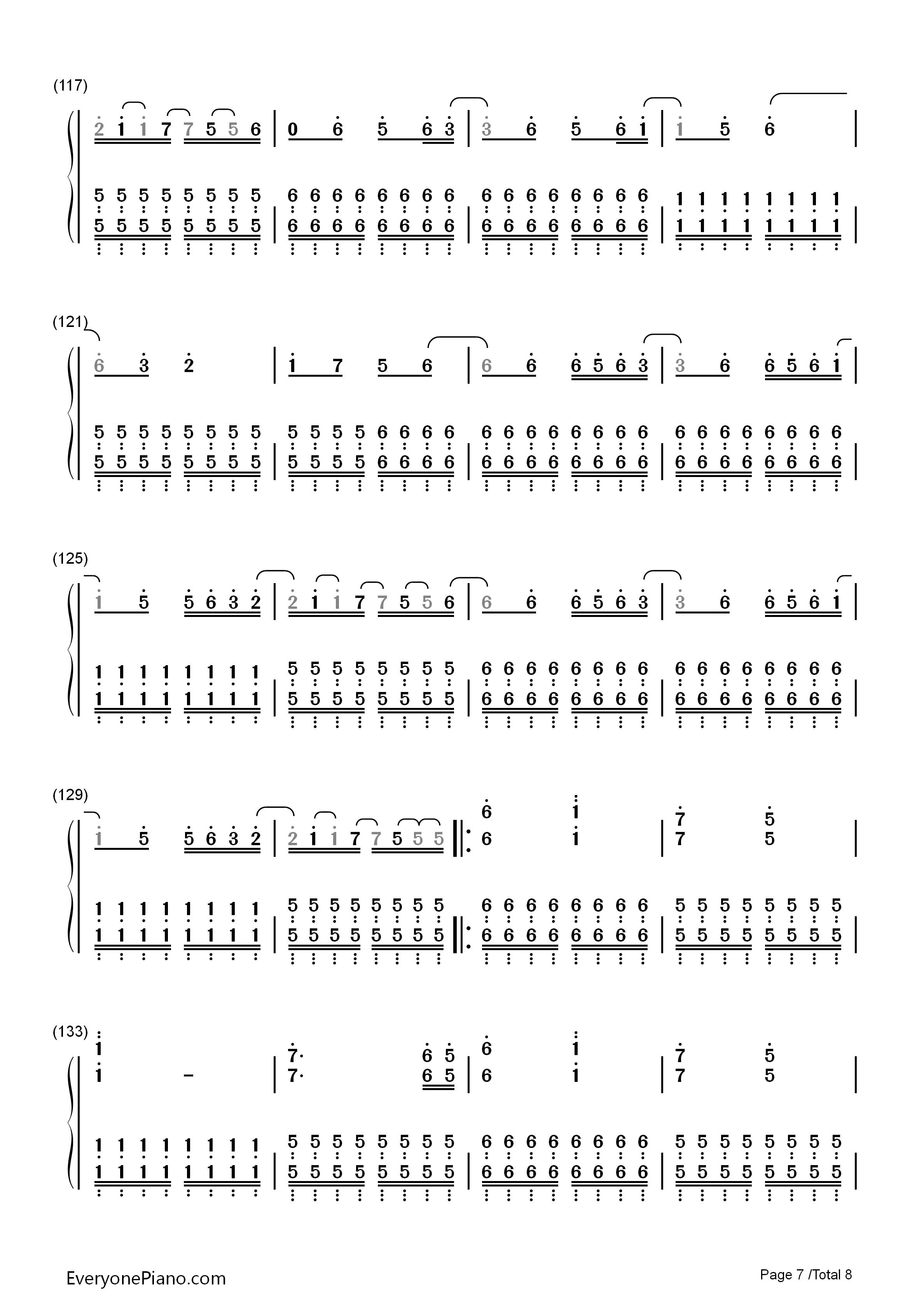 手简谱预览7 钢琴谱档 五线谱 双手简谱 数位谱 Midi PDF 免费下载