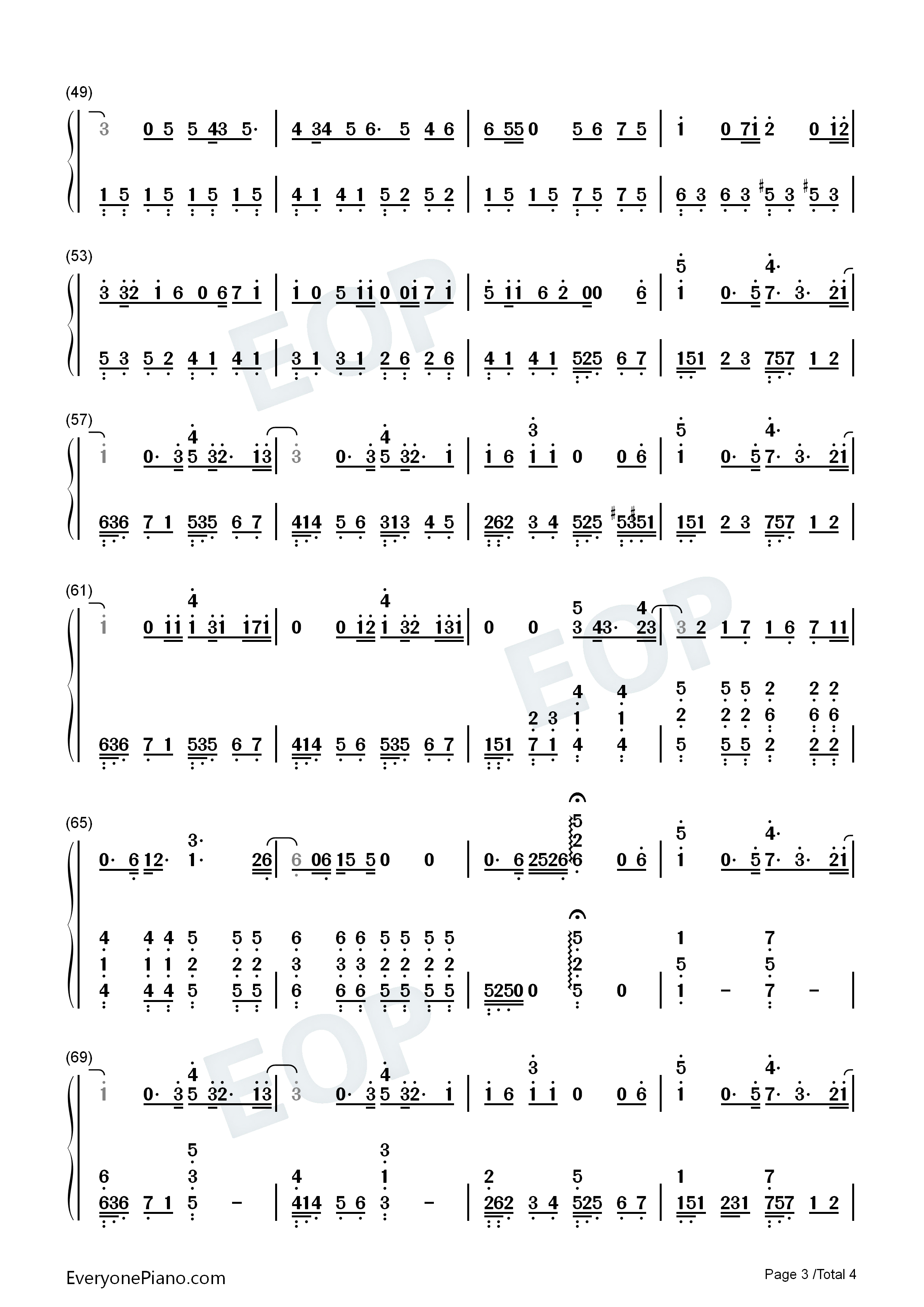 hello goodbye&hello-追逐繁星的孩子主题曲双手简谱预览3