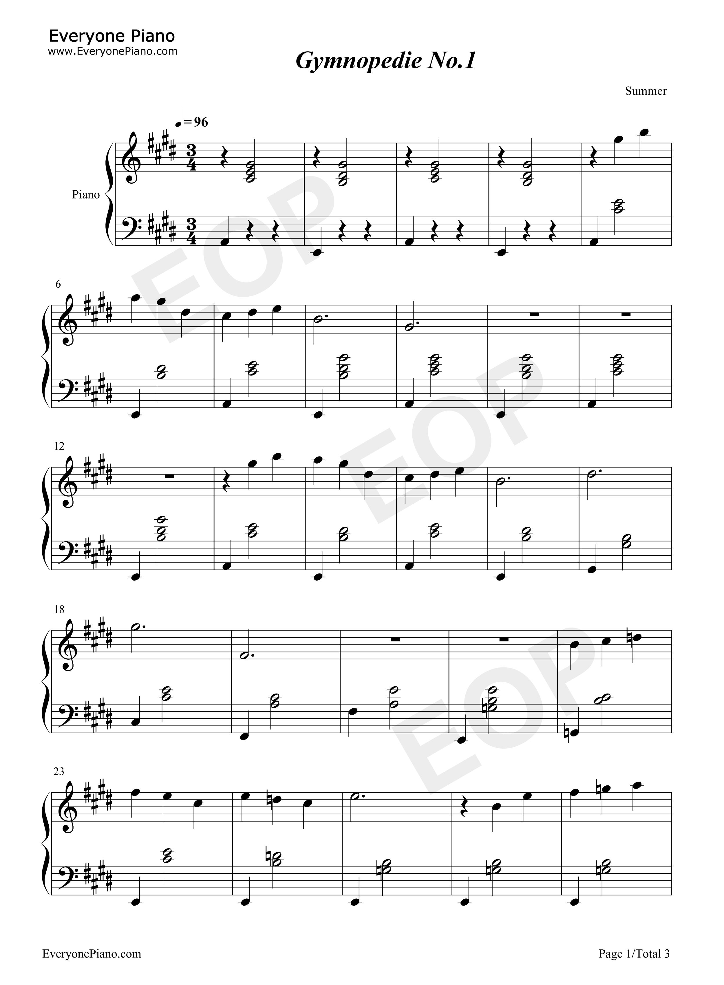 钢琴曲轻音乐谱-Gymnopedie No1.-Erik Satie五线谱预览