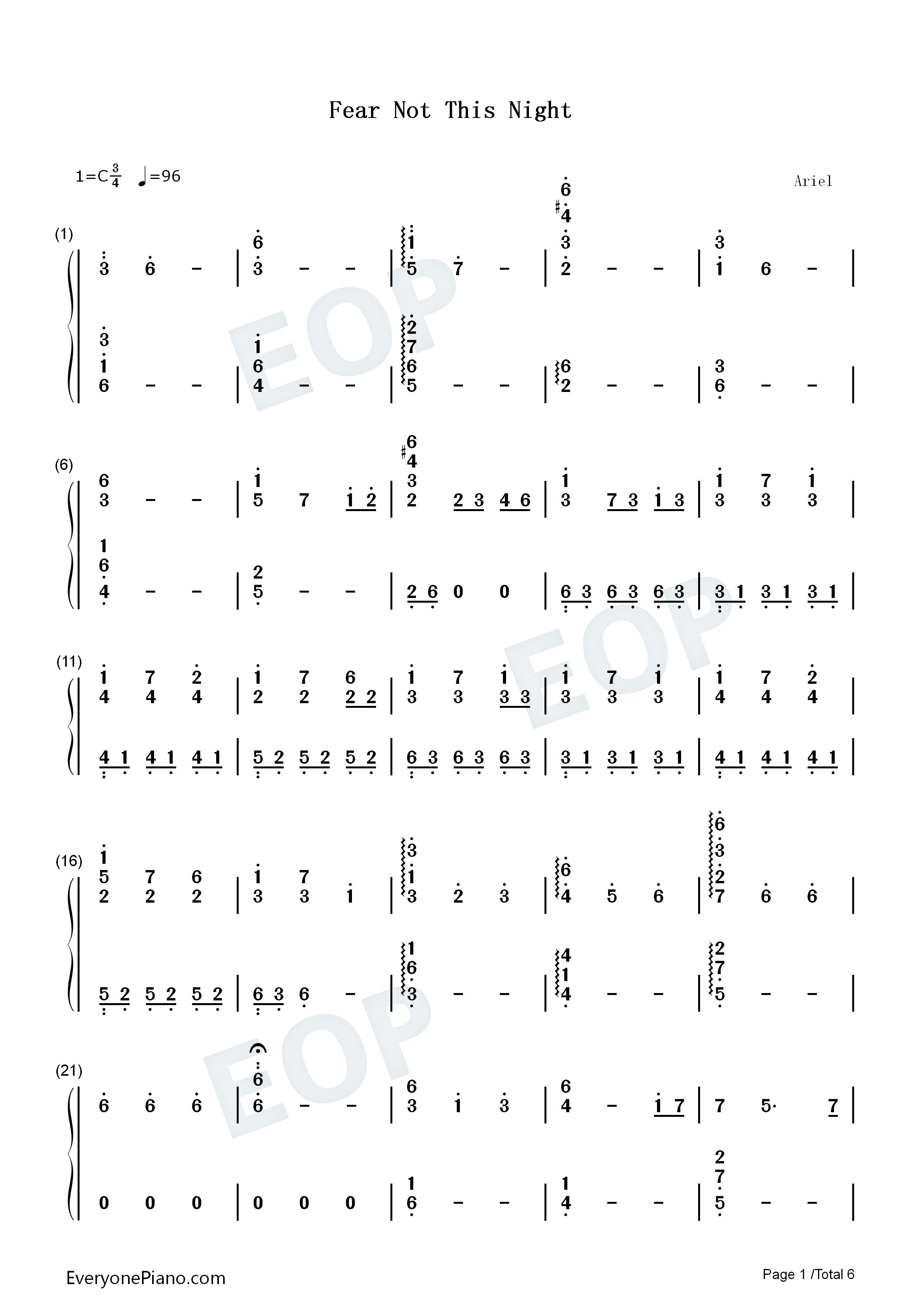 night-无惧此夜-激战2主题曲双手简谱