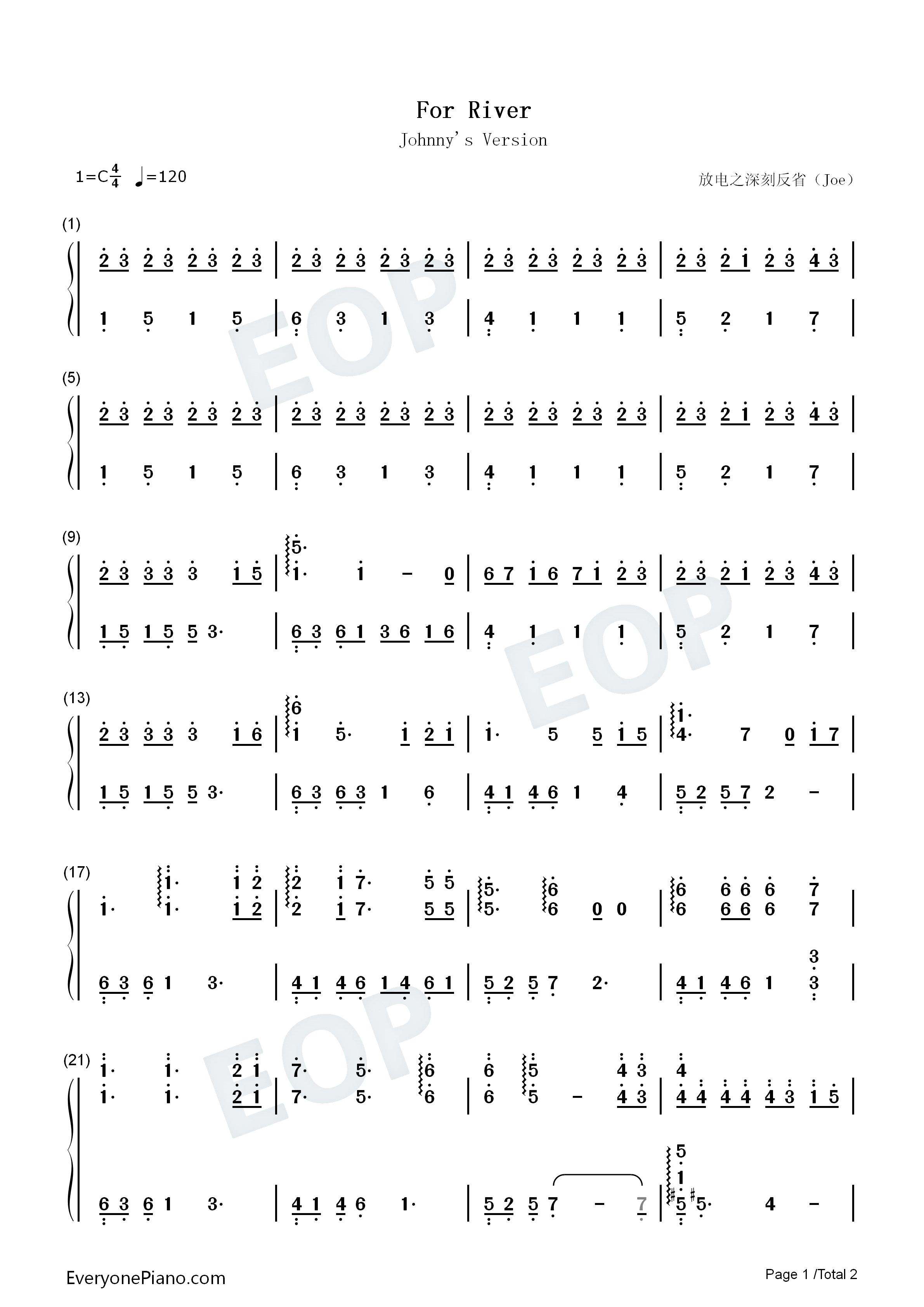 for river-to the moon双手简谱预览1-钢琴谱档(,双手