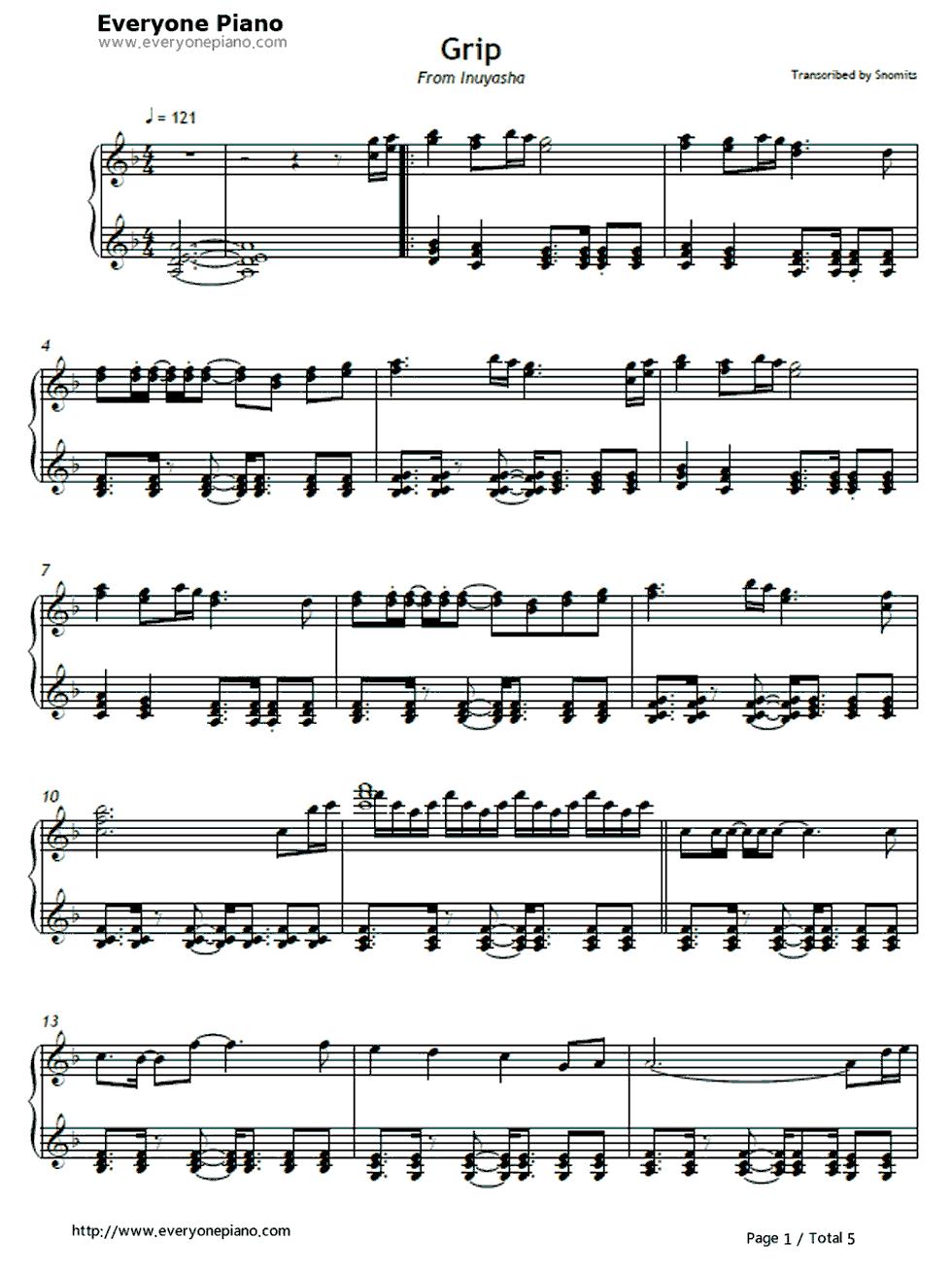 犬夜叉双手钢琴简谱