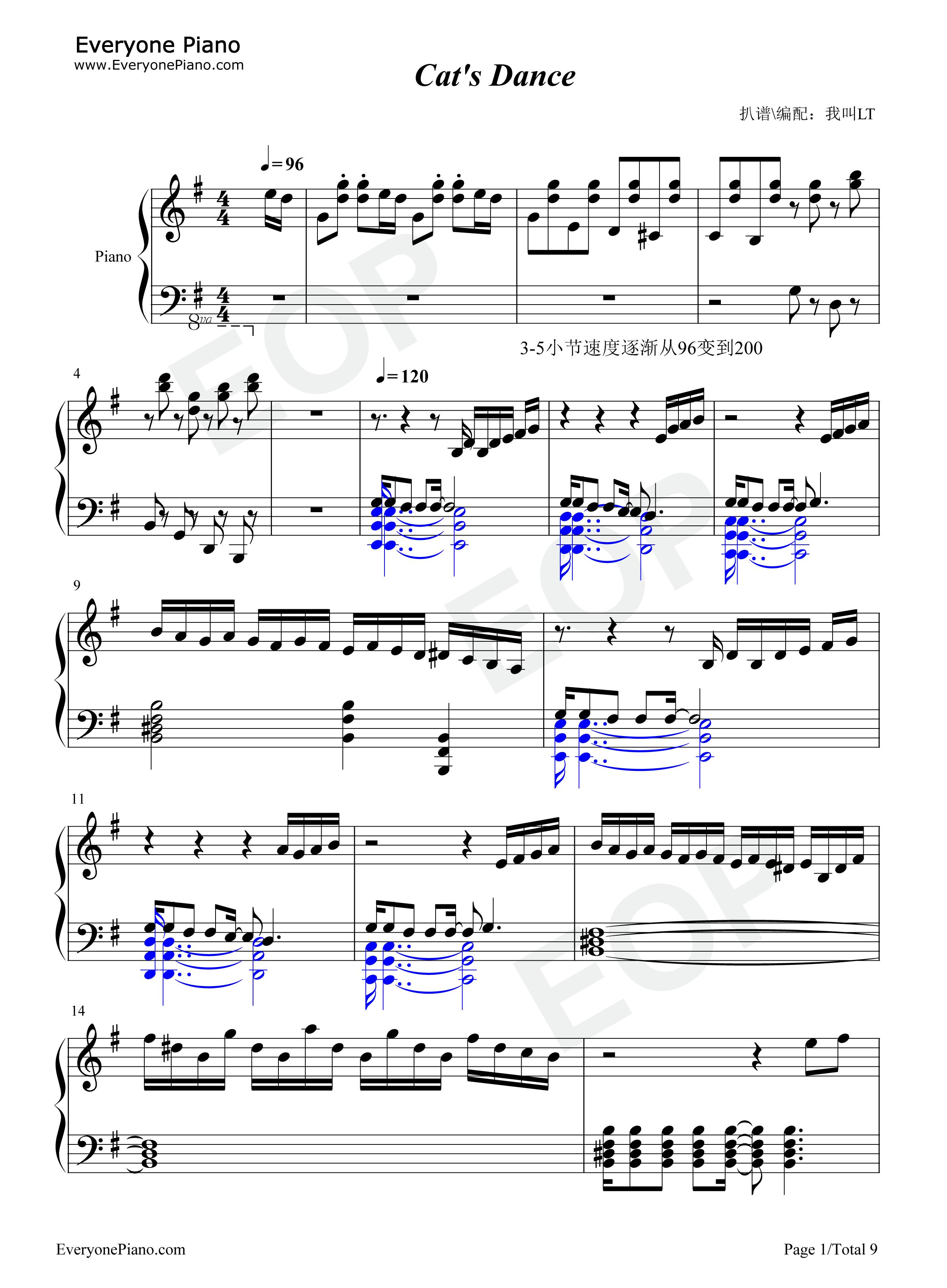 Cat 39 s dance 1 midi pdf for Piano dance music 90 s