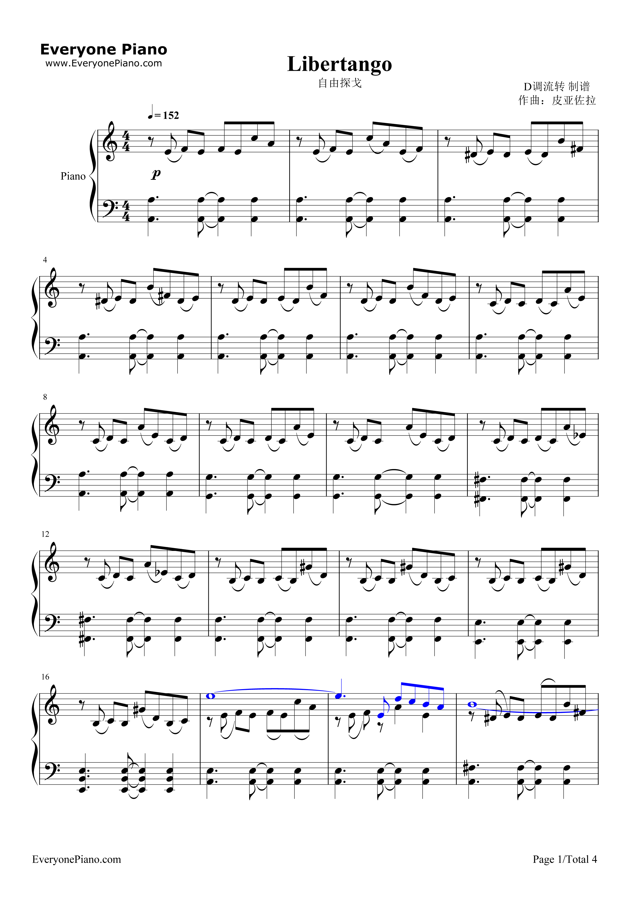 自由探戈-libertango-皮亚佐拉五线谱预览1