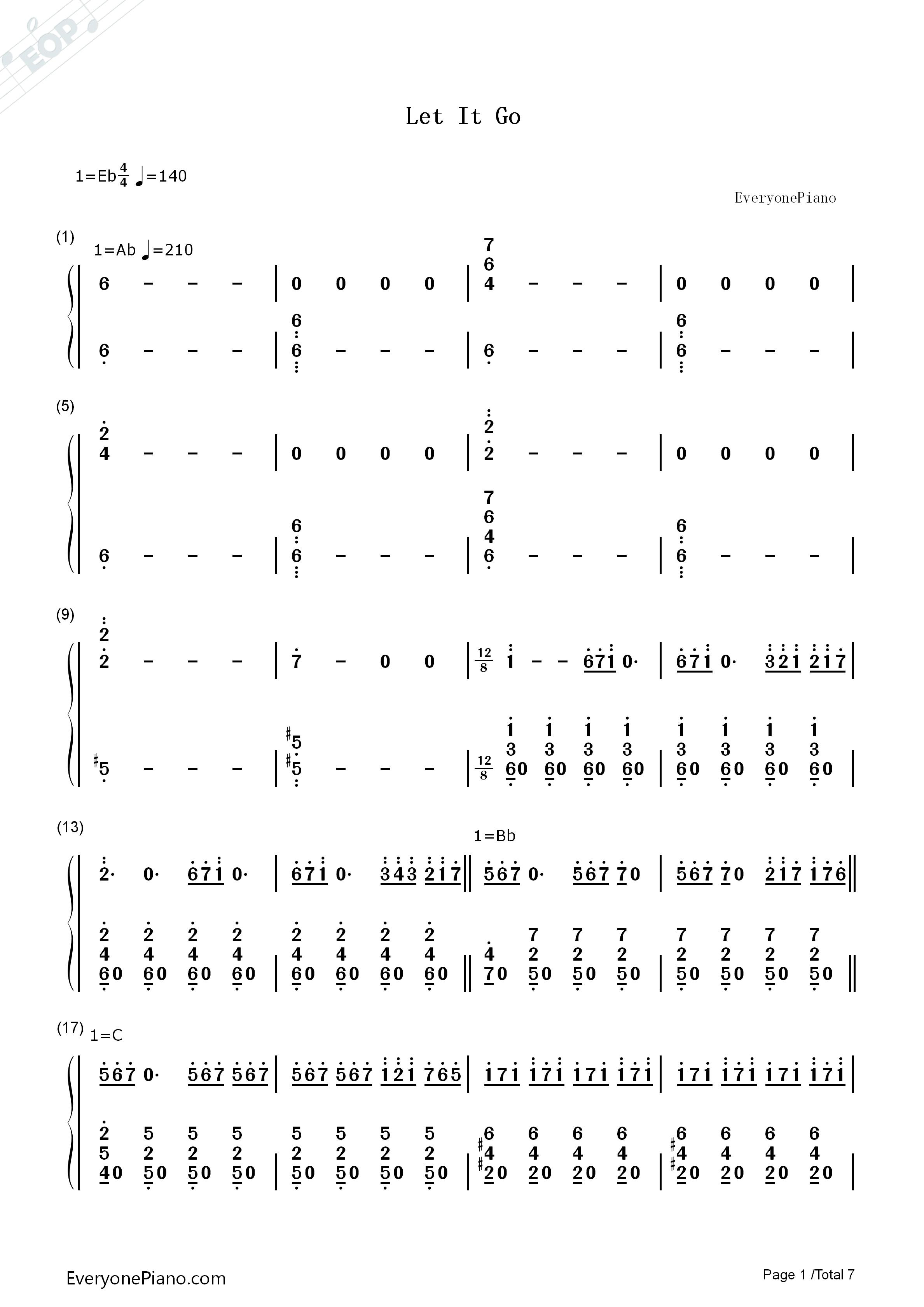 let it go伴奏-the piano guys-冰雪奇缘主题曲双手简谱预览1