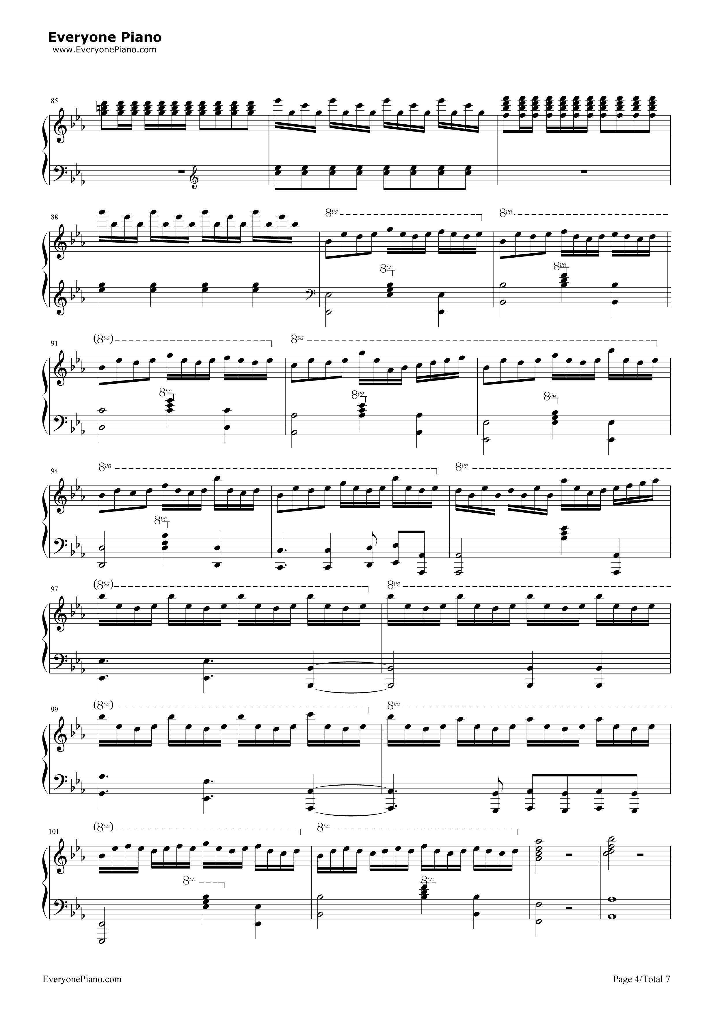 钢琴曲谱 动漫 let it