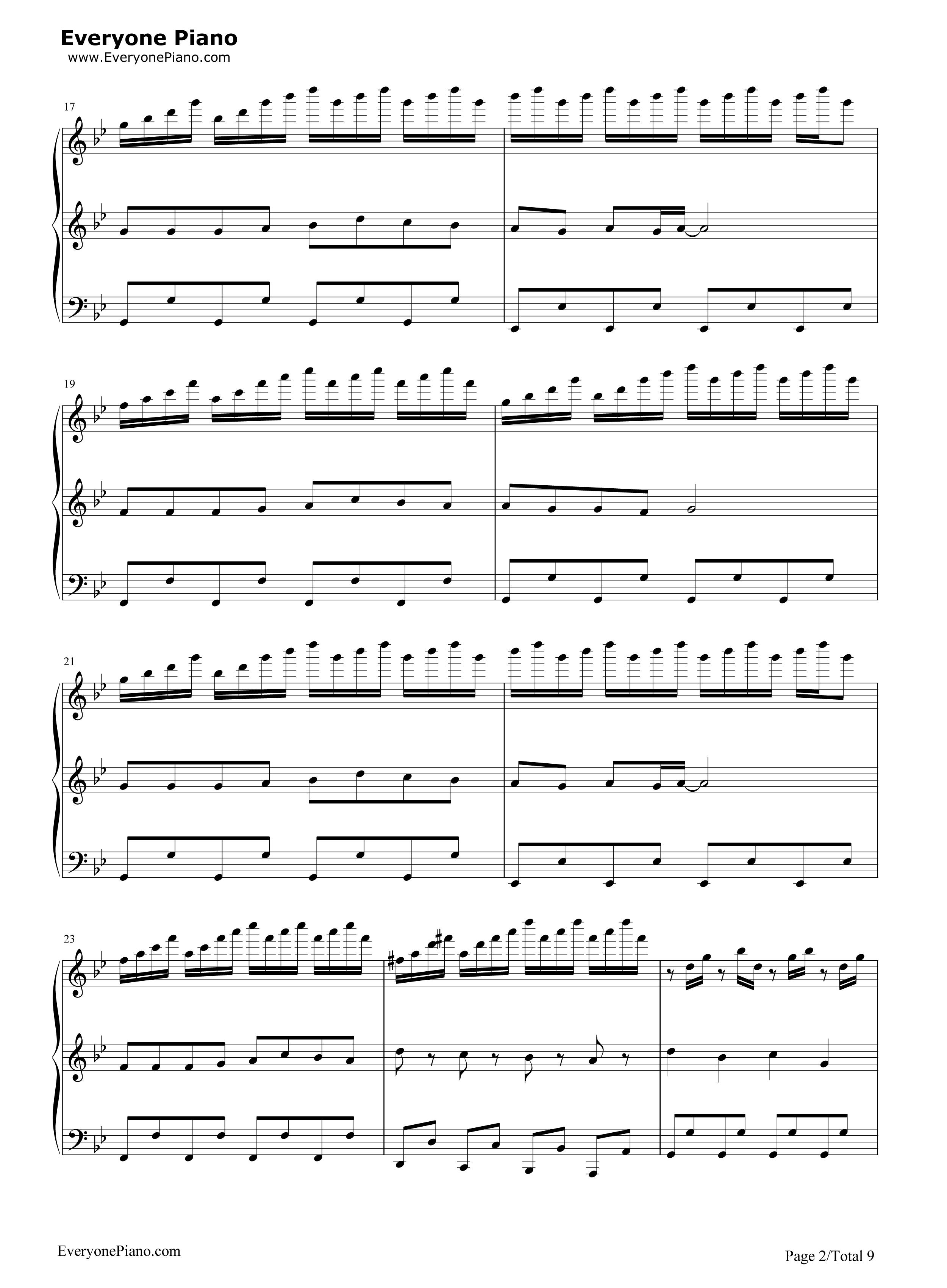 小苹果-三声部版-筷子兄弟五线谱预览2-钢琴谱