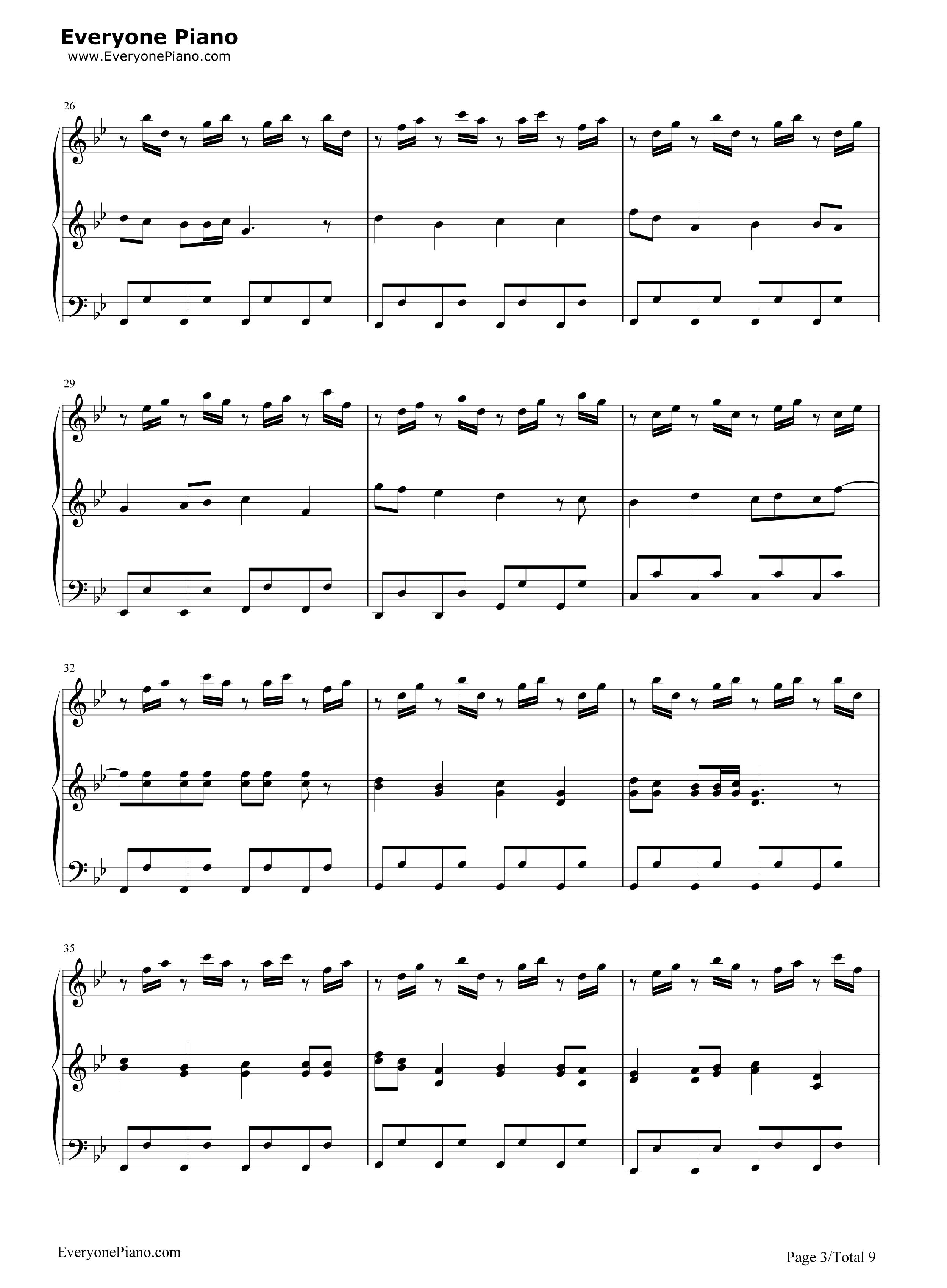 小苹果-三声部版-筷子兄弟五线谱预览3-钢琴谱(五线谱