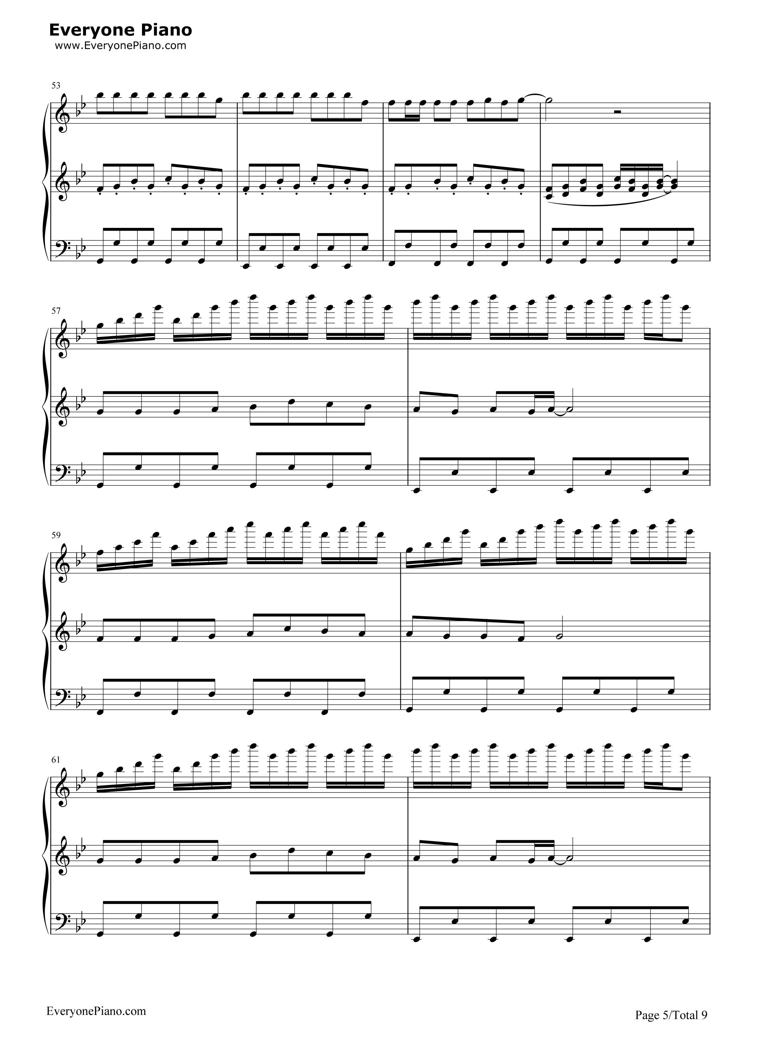 小苹果-三声部版-筷子兄弟五线谱预览5-钢琴谱
