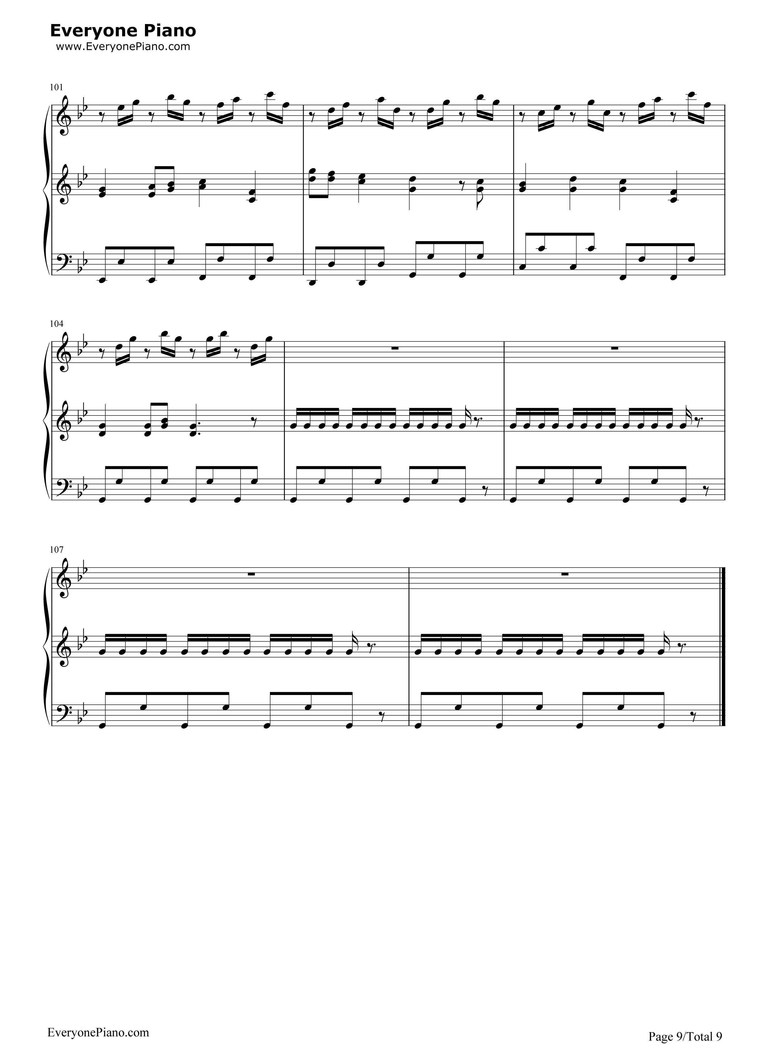 钢琴曲谱 流行 小苹果-三声部版-筷子兄弟 小苹果-三声部版-筷子兄弟