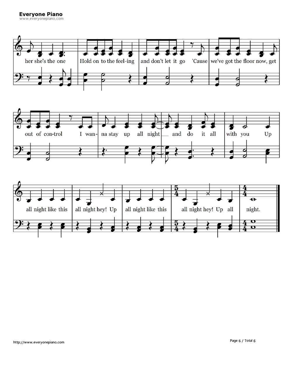 钢琴曲谱 流行 up all图片