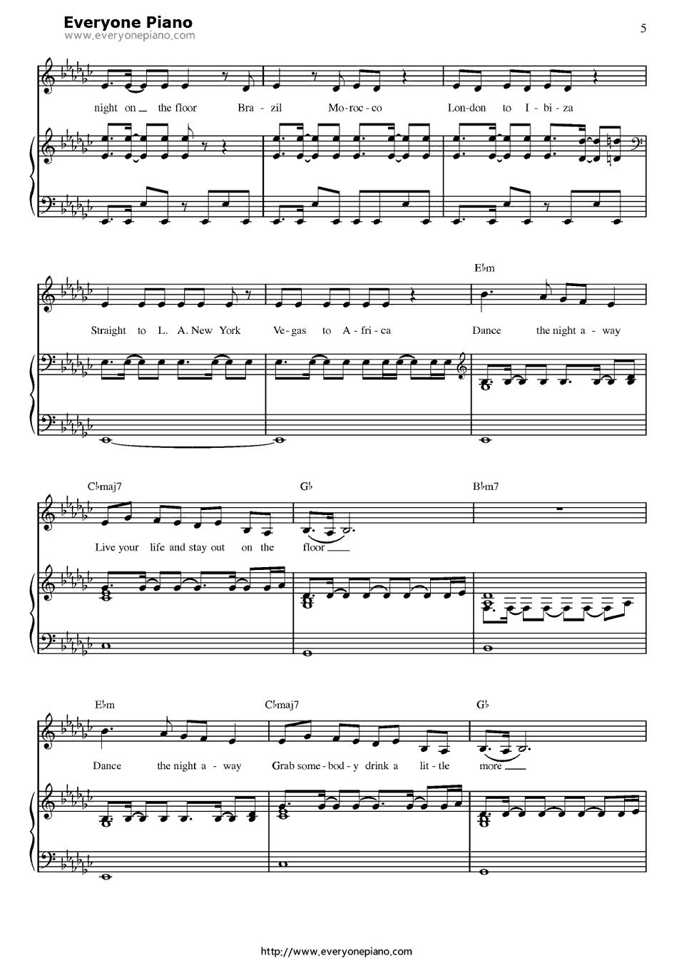 钢琴曲谱 流行 on the floor-jennifer lopez on the floor-jennifer