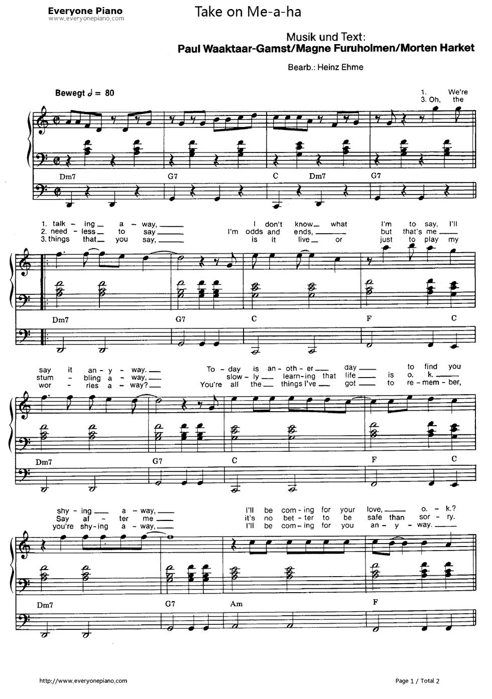 钢琴曲谱 流行 take on me-a-ha take on me-a-ha五线谱预览1  }