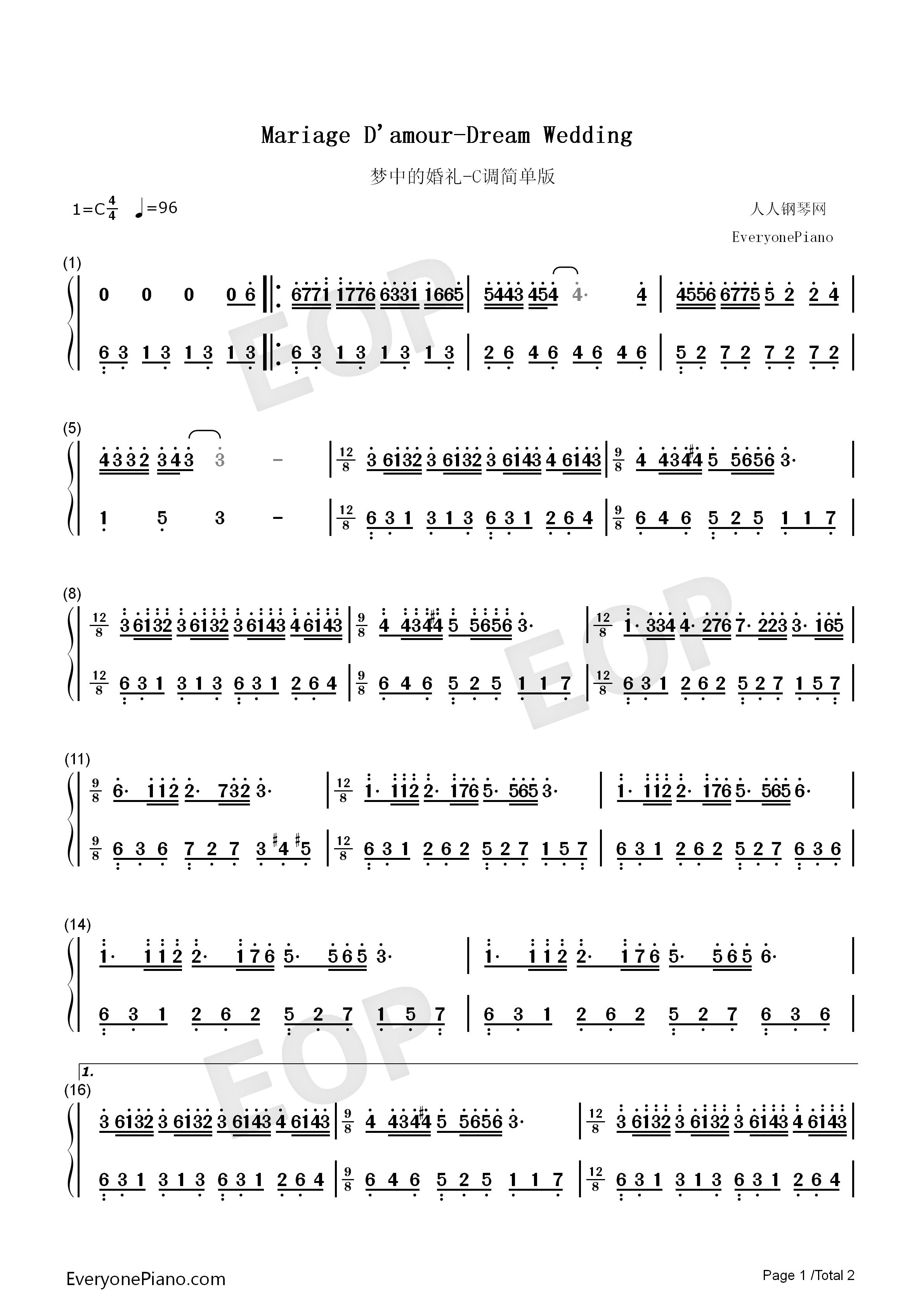 钢琴曲谱 经典 梦中的婚礼-理查德克莱德曼-c调简版 梦中的婚礼