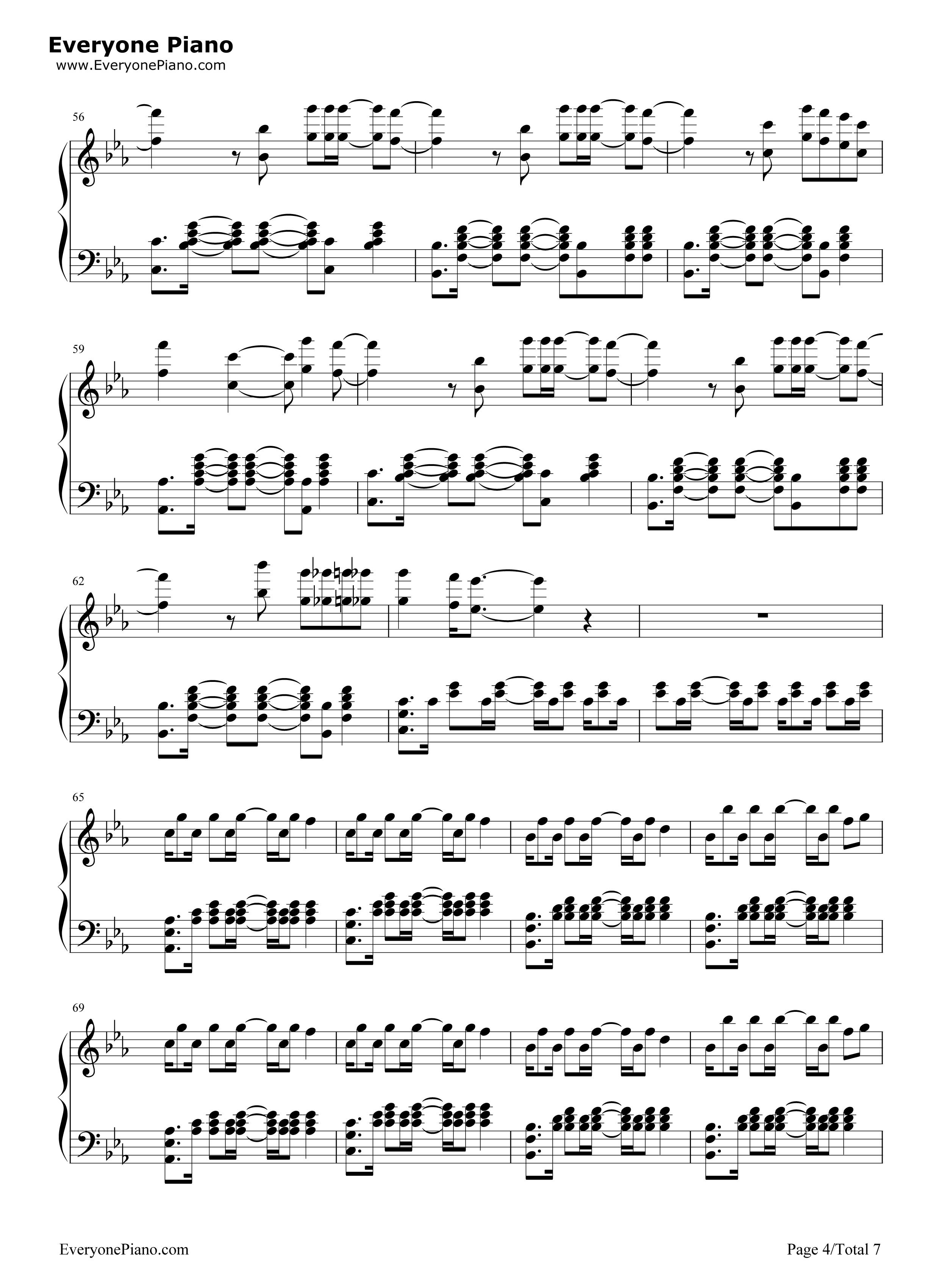 钢琴曲谱 流行 blame-calvin harris ft.