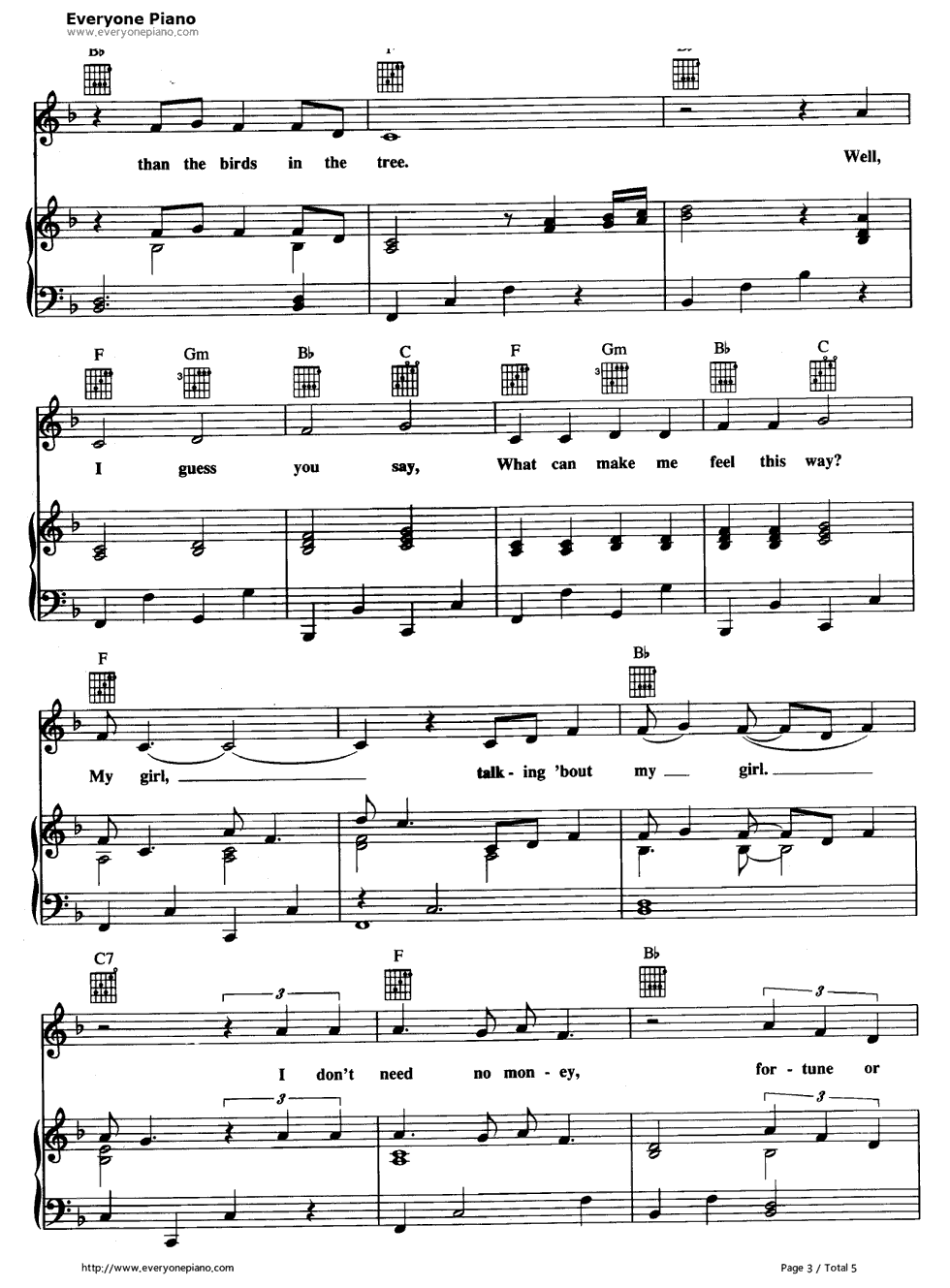My Girl The Temptations五线谱预览3 钢琴谱档 五线谱 双手简谱 数位谱
