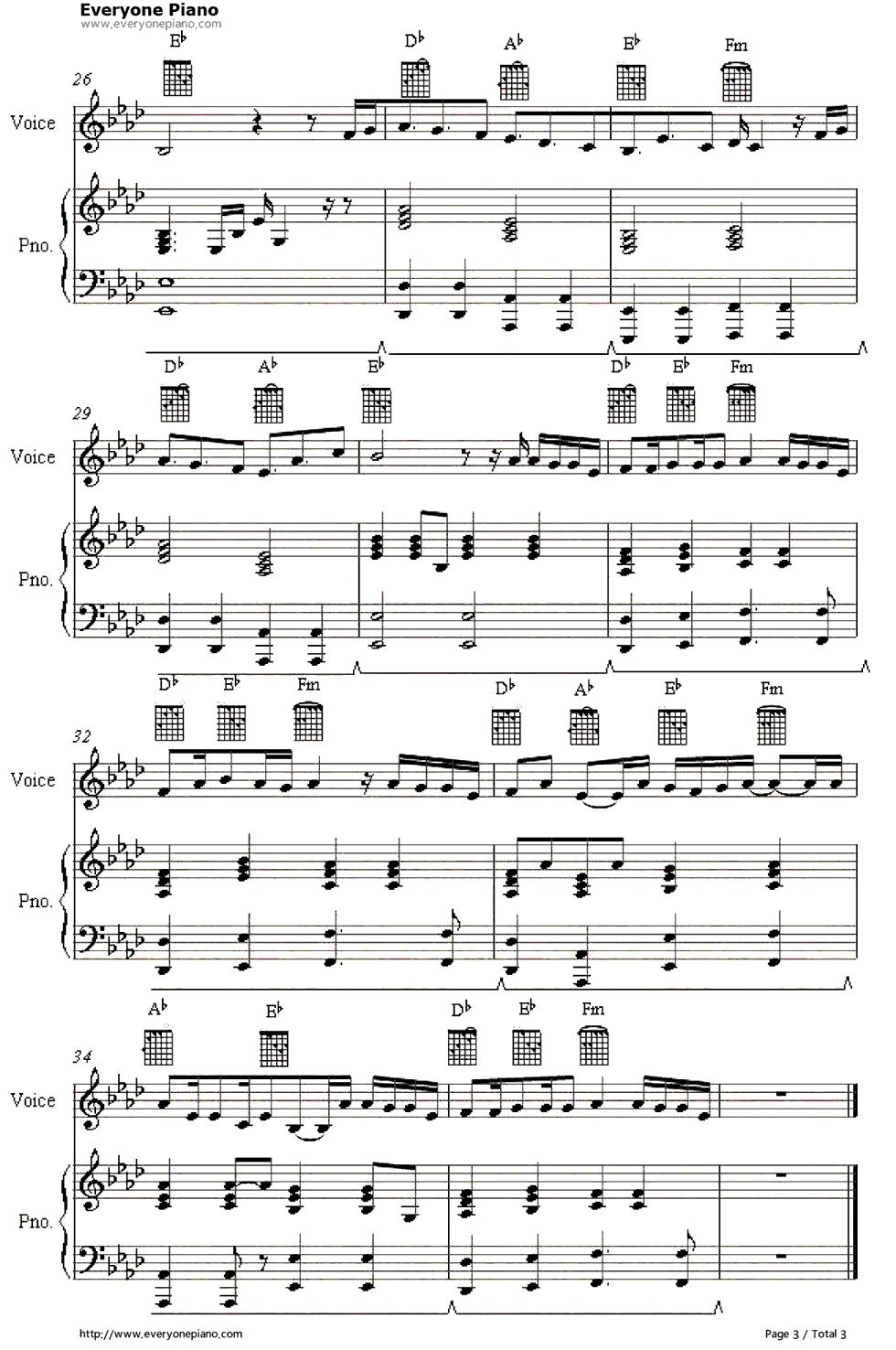 everytime we touch-cascada五线谱预览3