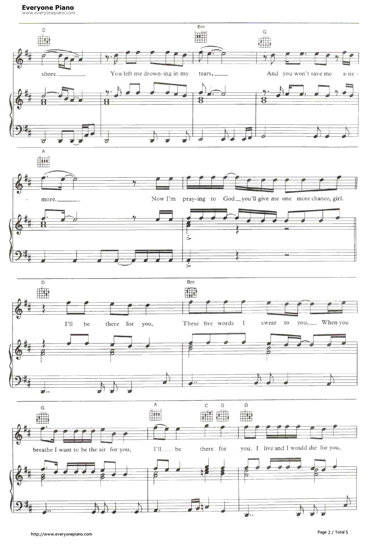 ll Be There for You Bon Jovi五线谱预览2 钢琴谱档 五线谱 双手简谱