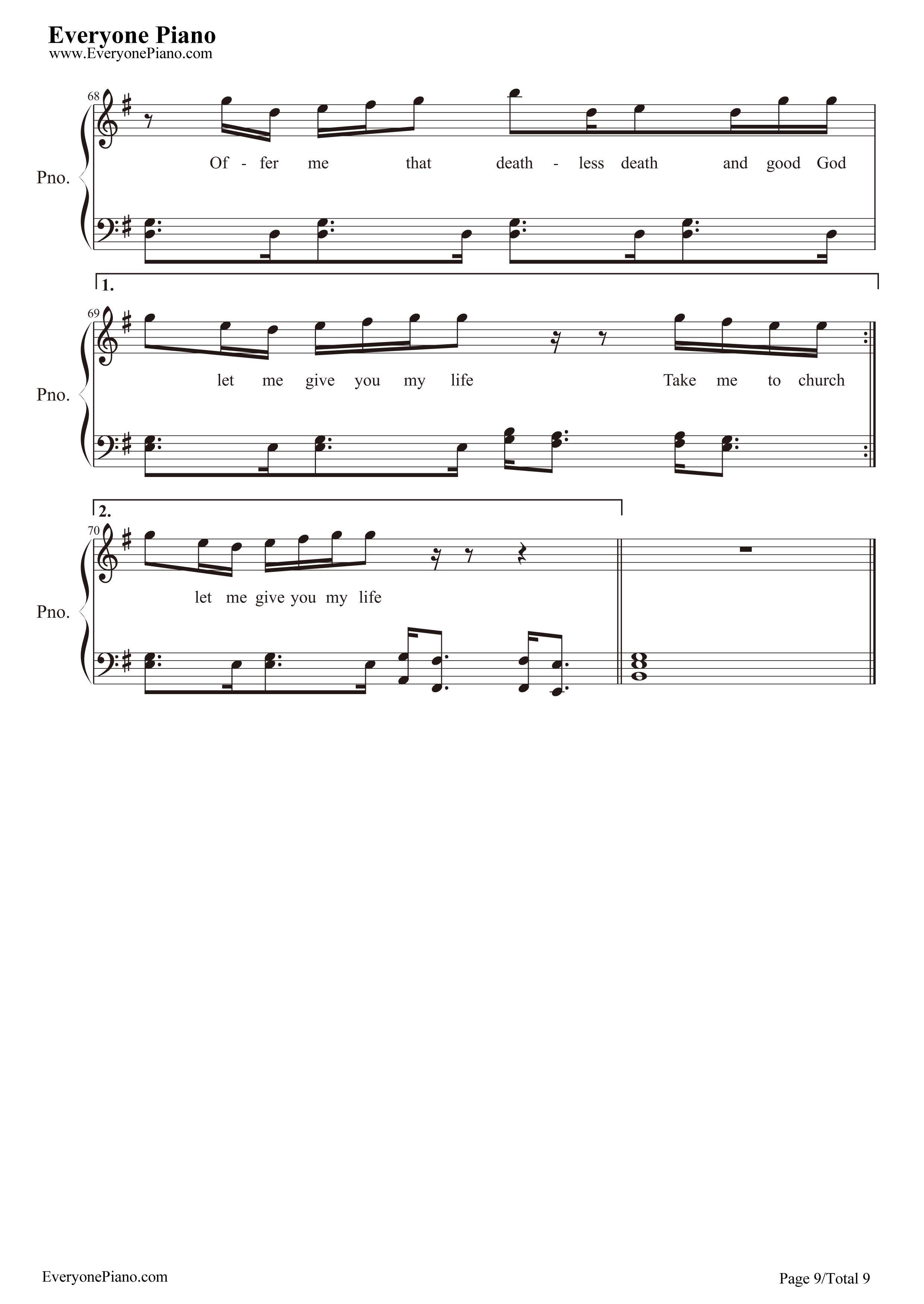 Hozier五线谱预览9 钢琴谱档 五线谱 双手简谱 数位谱 Midi PDF 免费