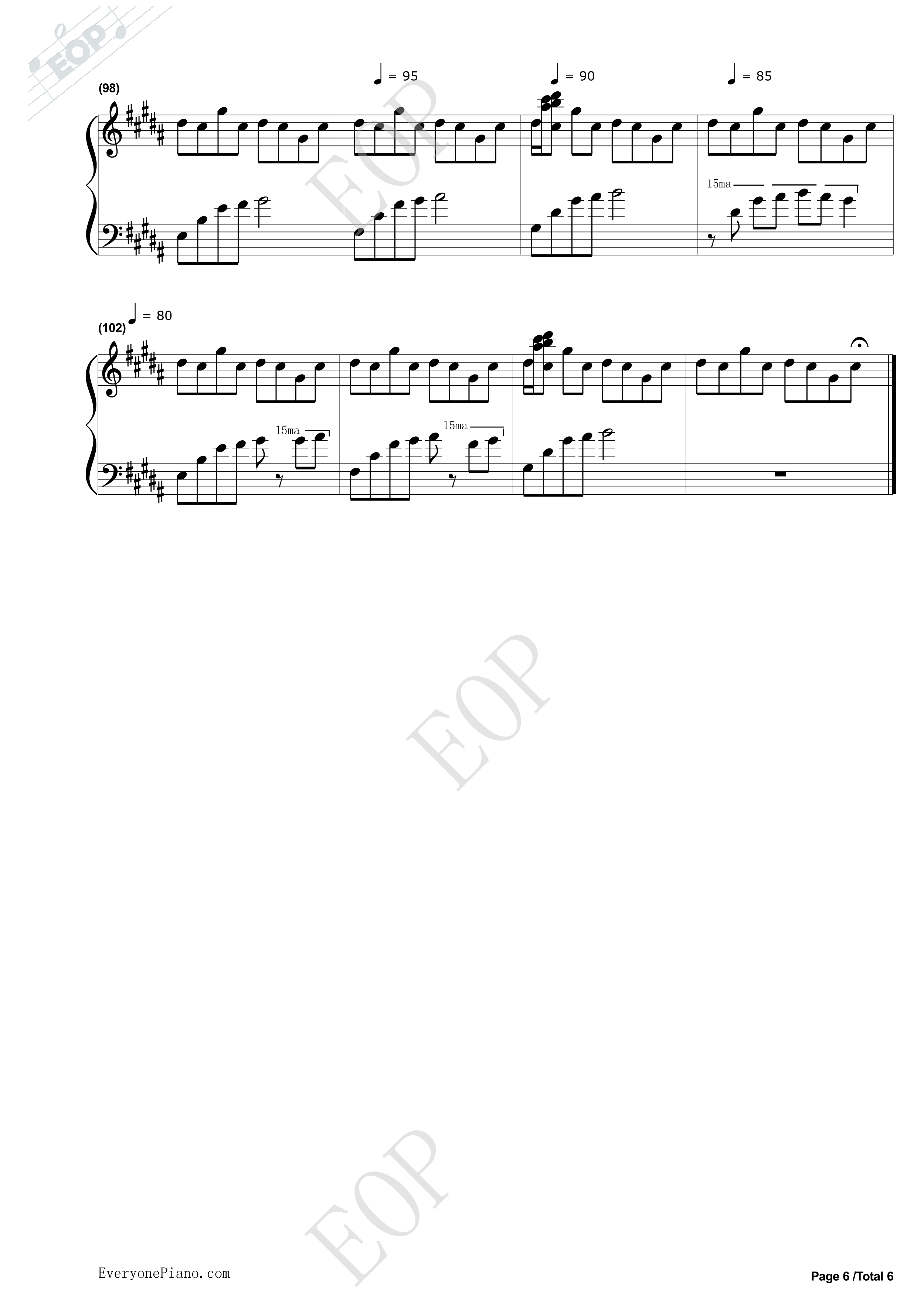 钢琴曲谱 经典 flower dance-花舞-dj okawari flower dance-花舞-dj