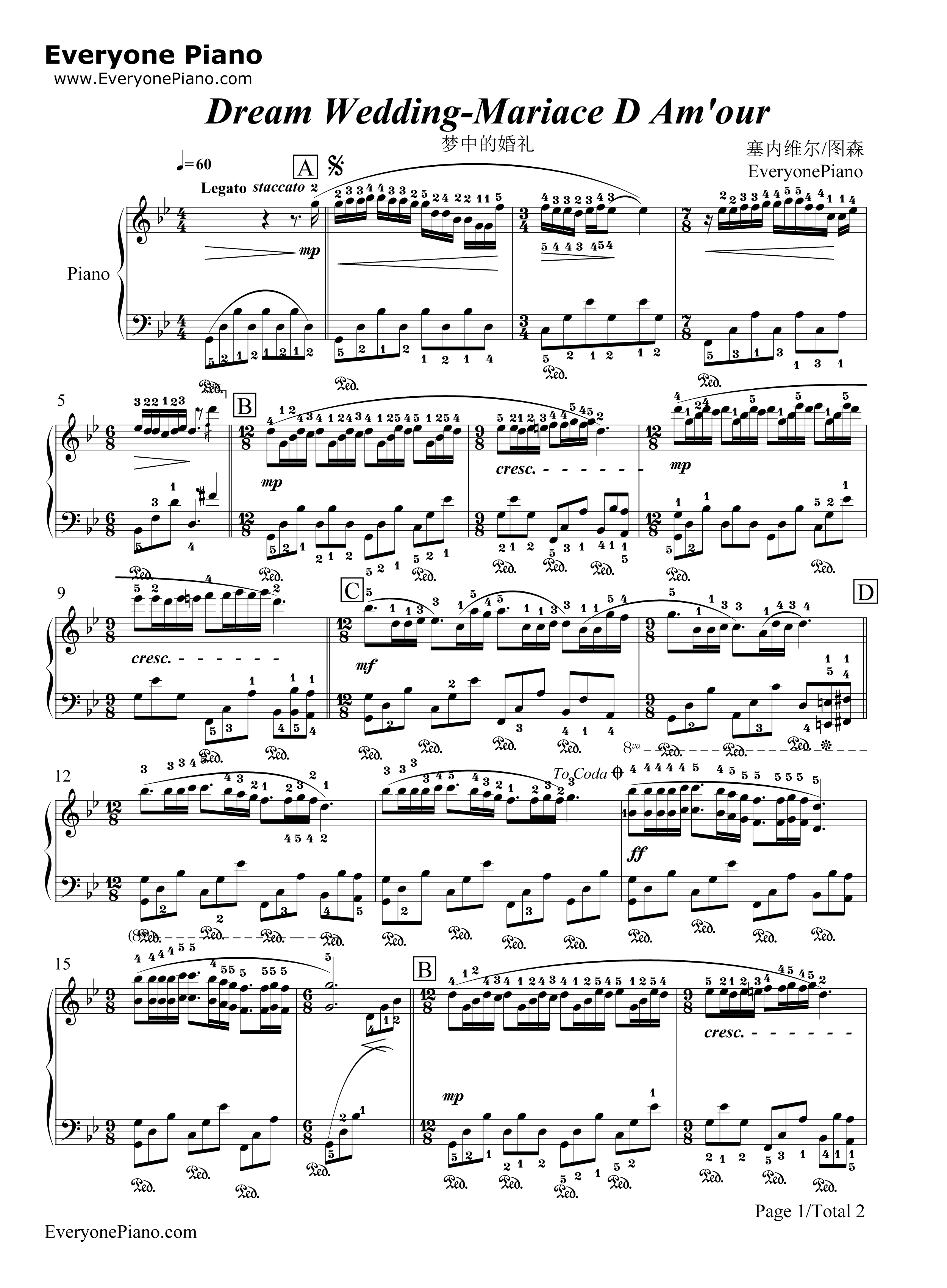 钢琴曲谱 经典 梦中的婚礼-带指法版-理查德克莱德曼 梦中的婚礼-带