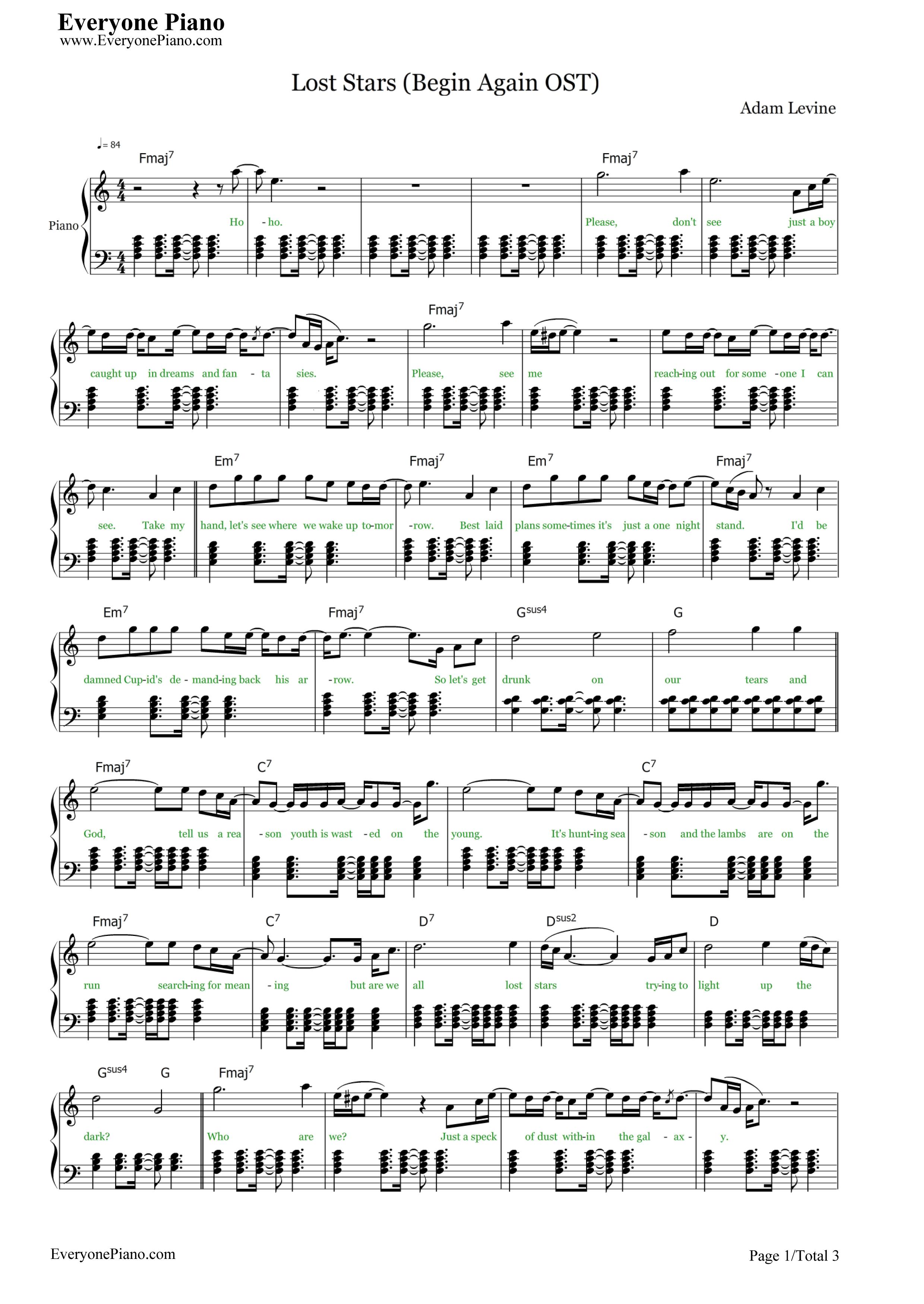 钢琴曲谱 流行 lost stars-歌曲改变人生主题曲 lost stars-歌曲改变