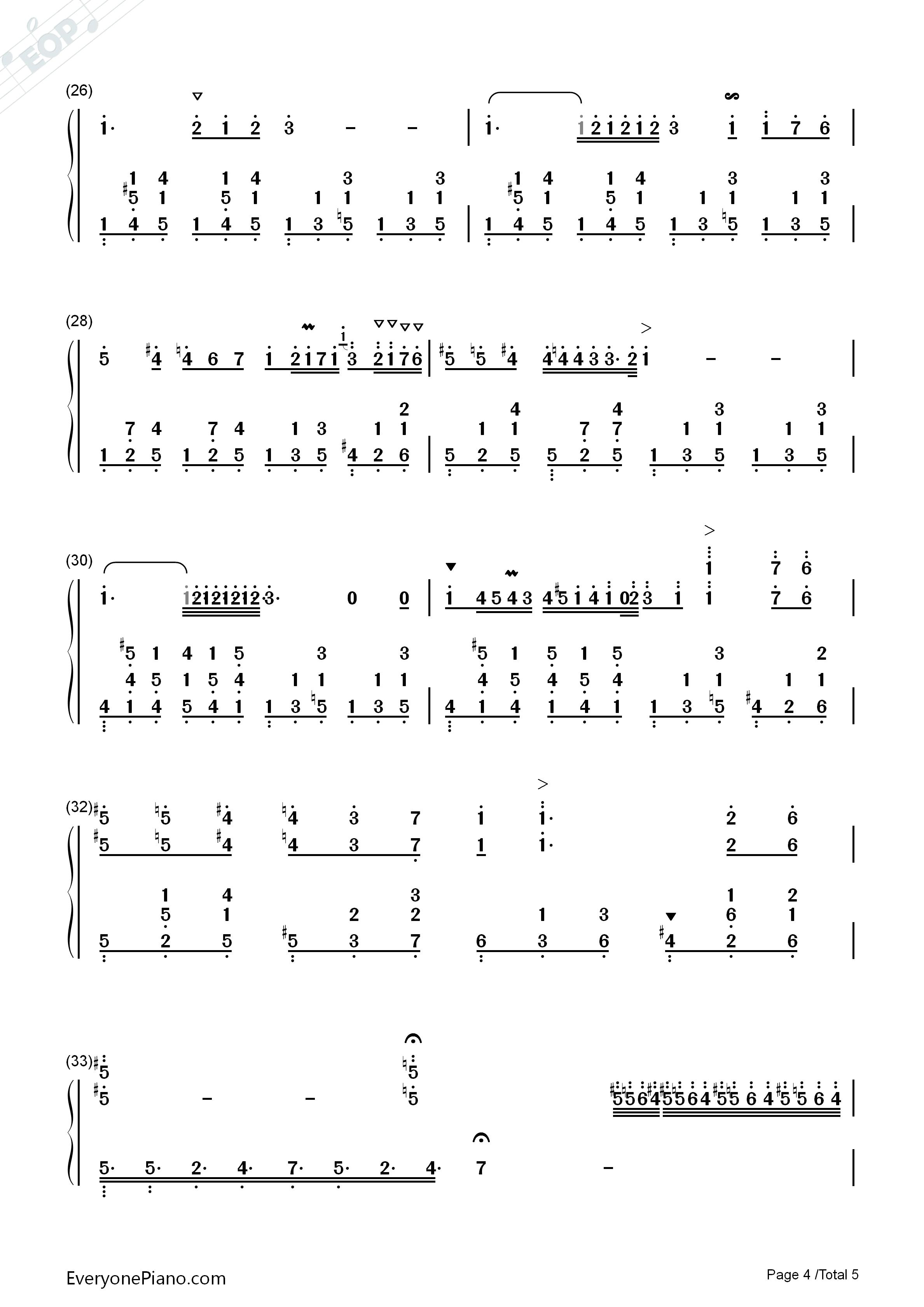 降e大调夜曲-肖邦双手简谱预览4