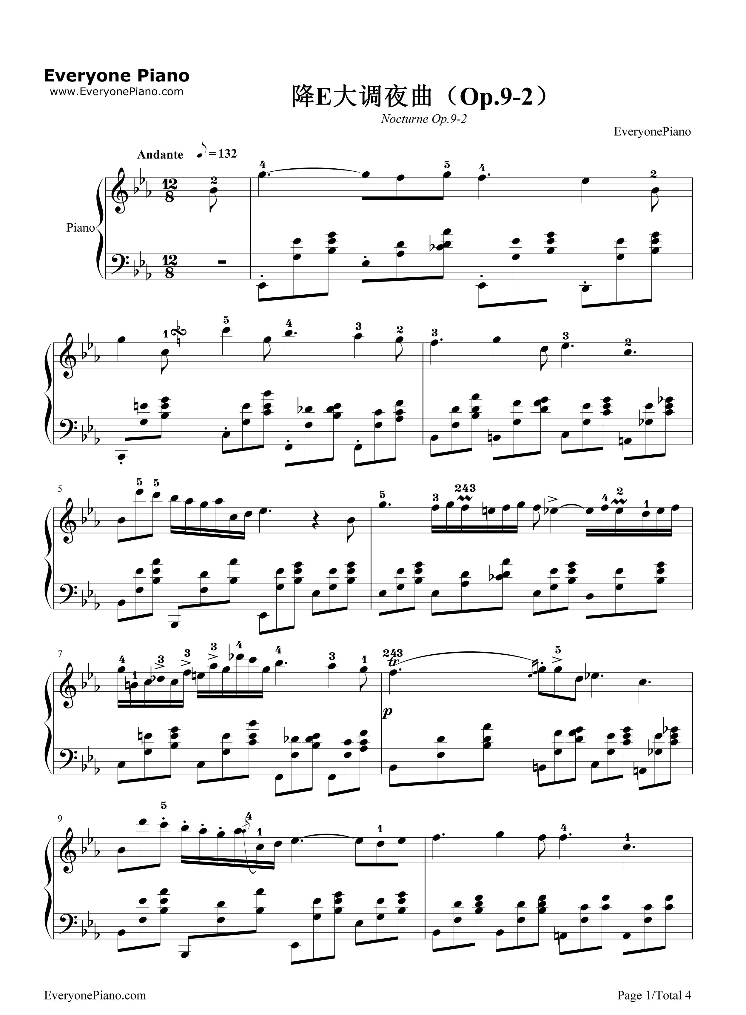 降e大调夜曲-肖邦五线谱预览1-钢琴谱(五线谱,双手)