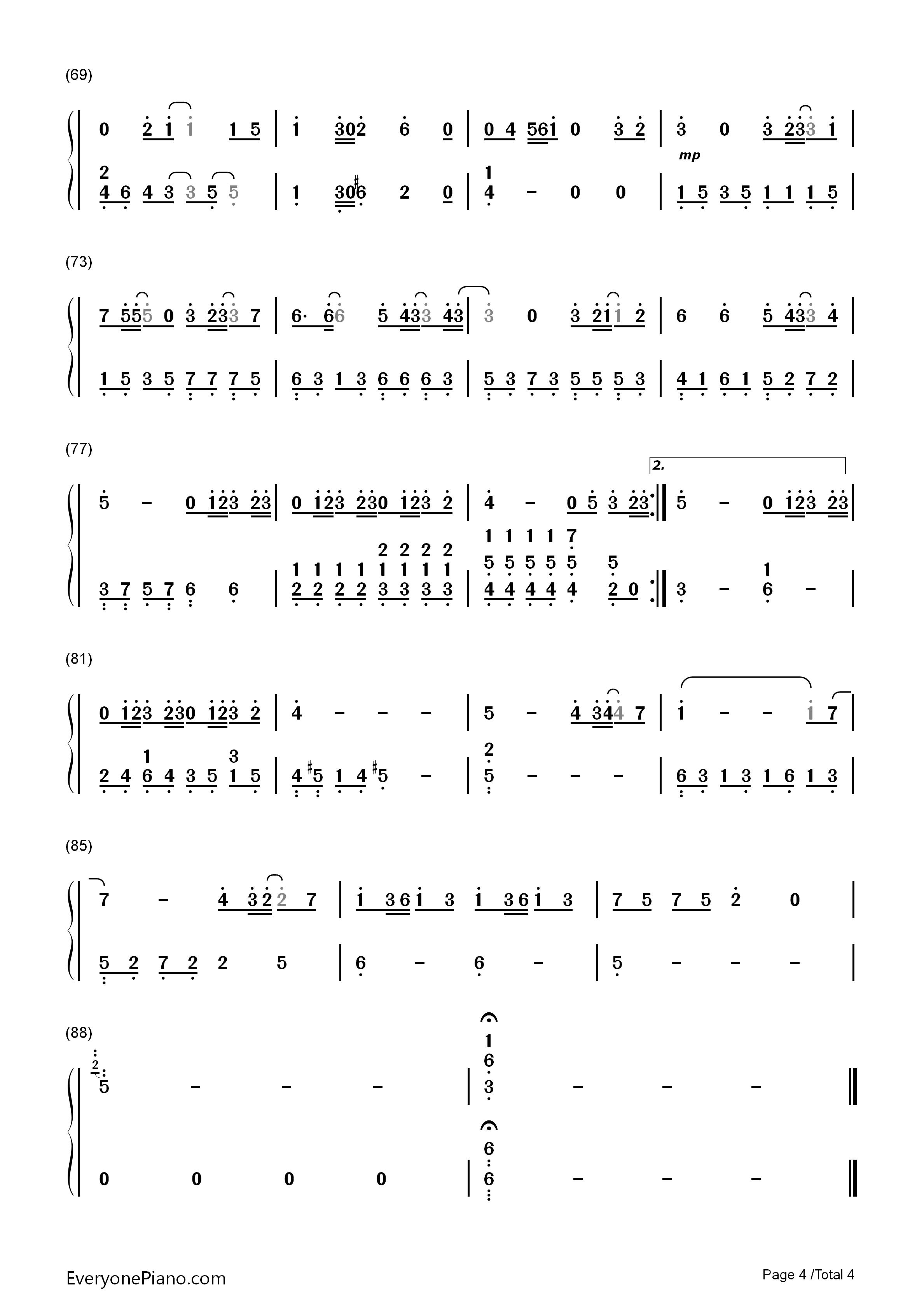 可惜没如果-简易版-林俊杰双手简谱预览4