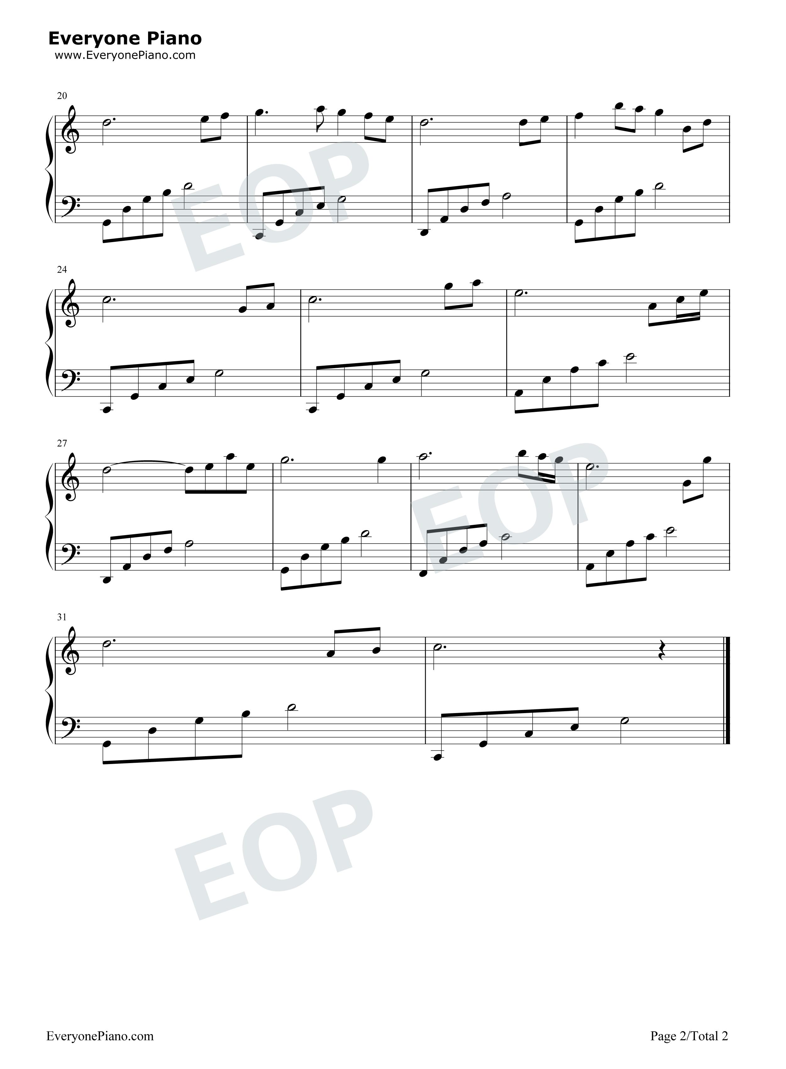 在水一方-邓丽君五线谱预览2-钢琴谱(五线谱,双手简谱