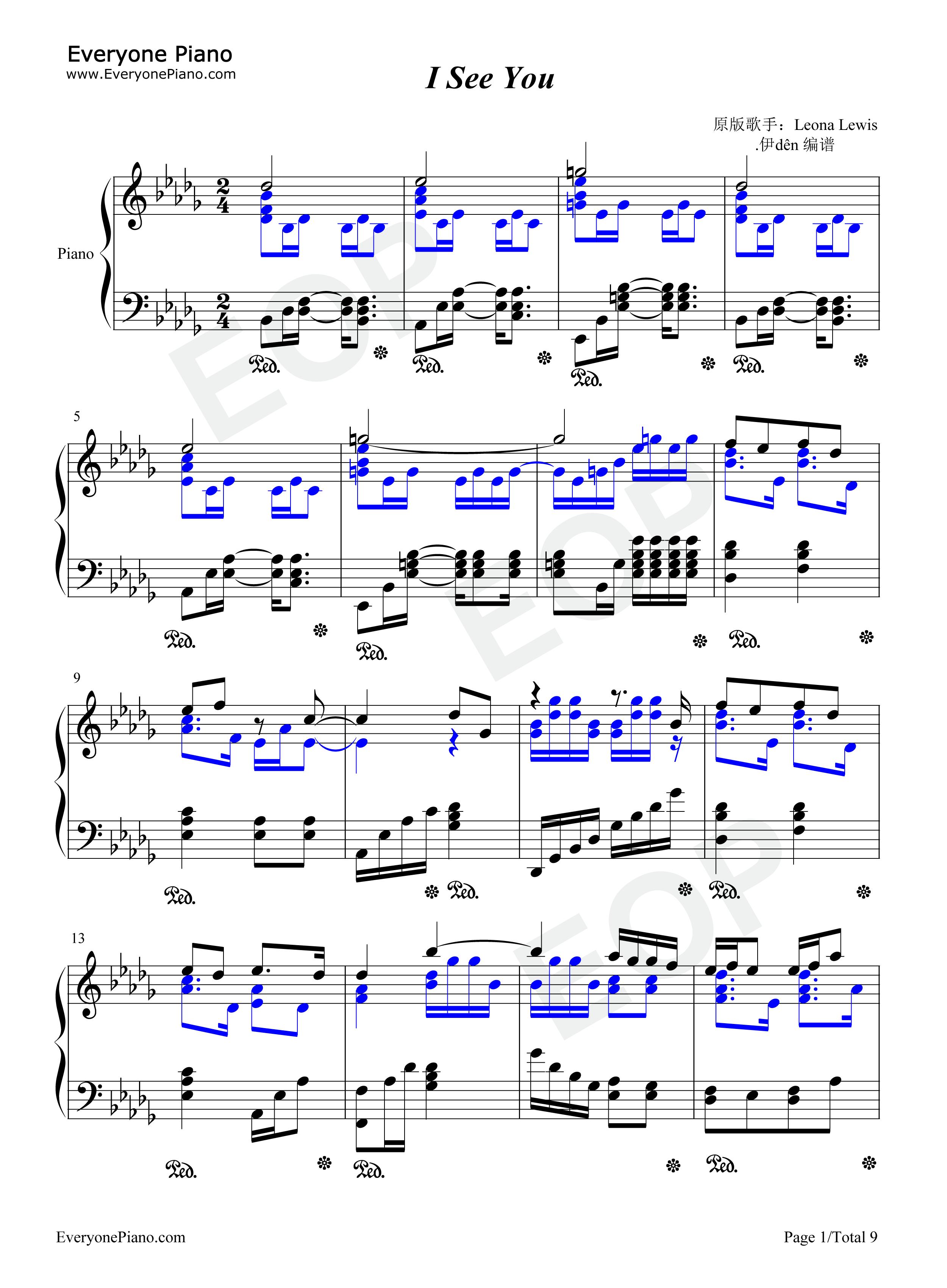 i see you-阿凡达主题曲五线谱预览1-钢琴谱(五线谱,)
