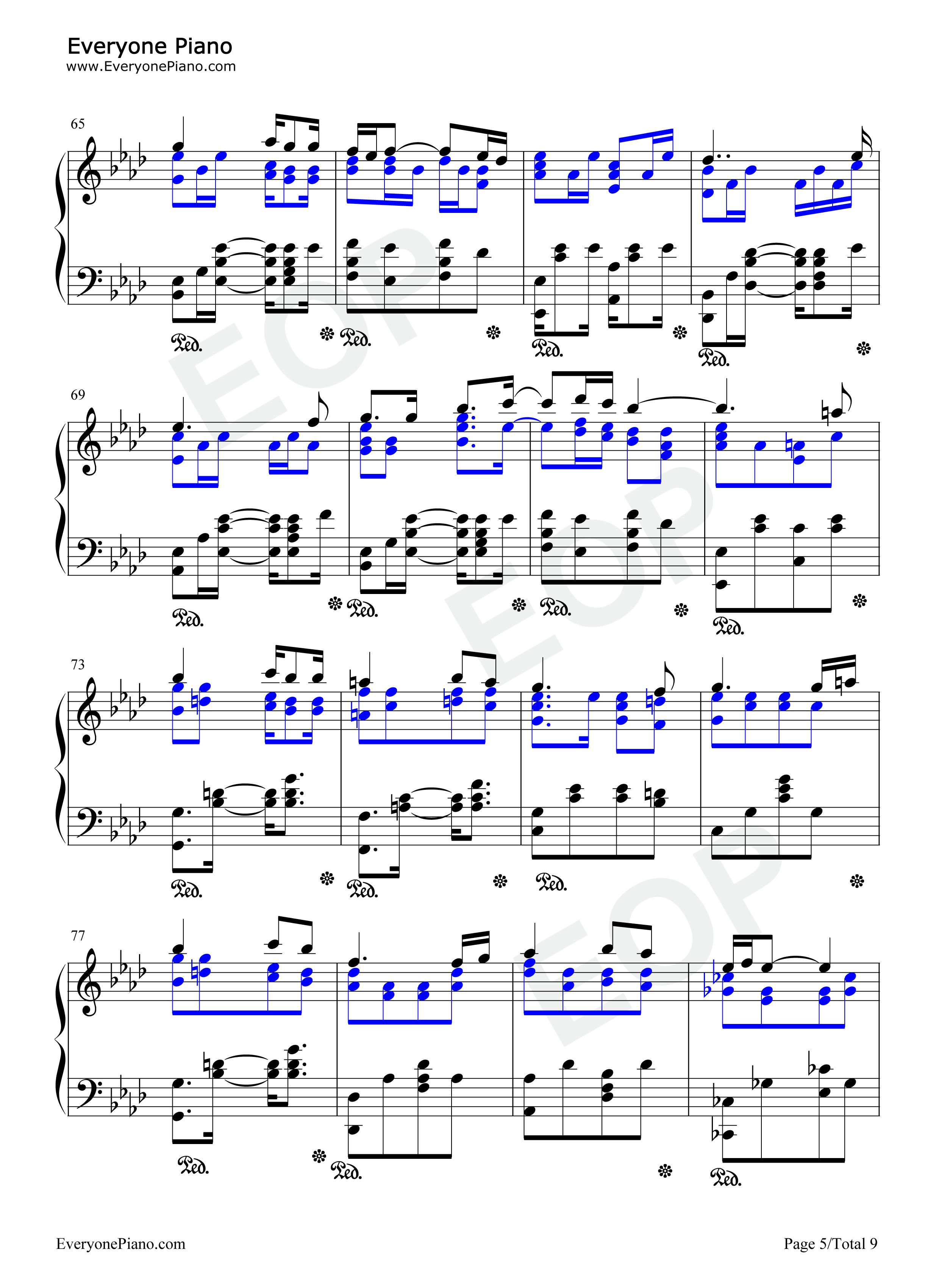 i see you-阿凡达主题曲五线谱预览5-钢琴谱(五线谱,)