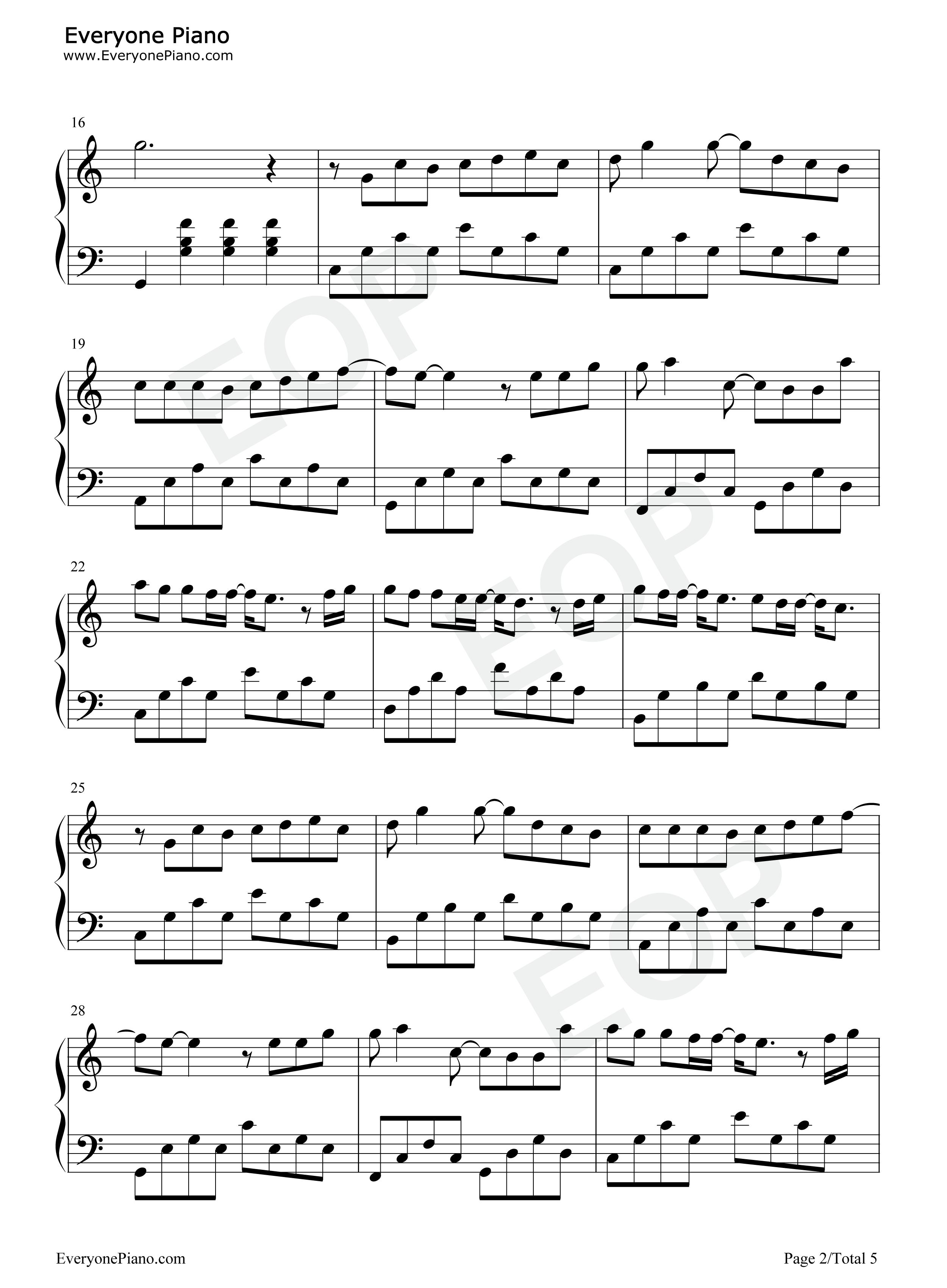 枫-周杰伦五线谱预览2