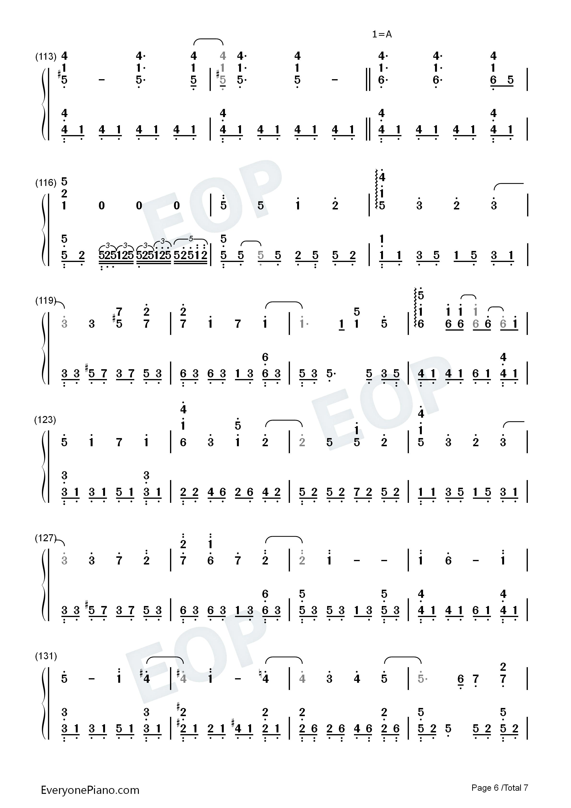 樱花树下-张敬轩双手简谱预览6-钢琴谱(五线谱